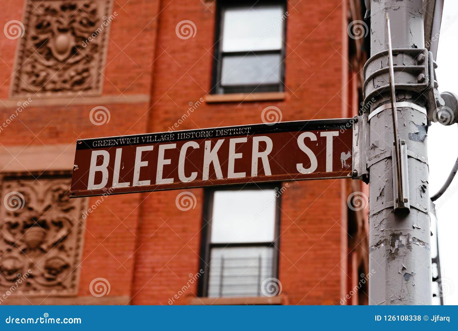 Bleecker gatavägmärke i den Greenwich byn i New York