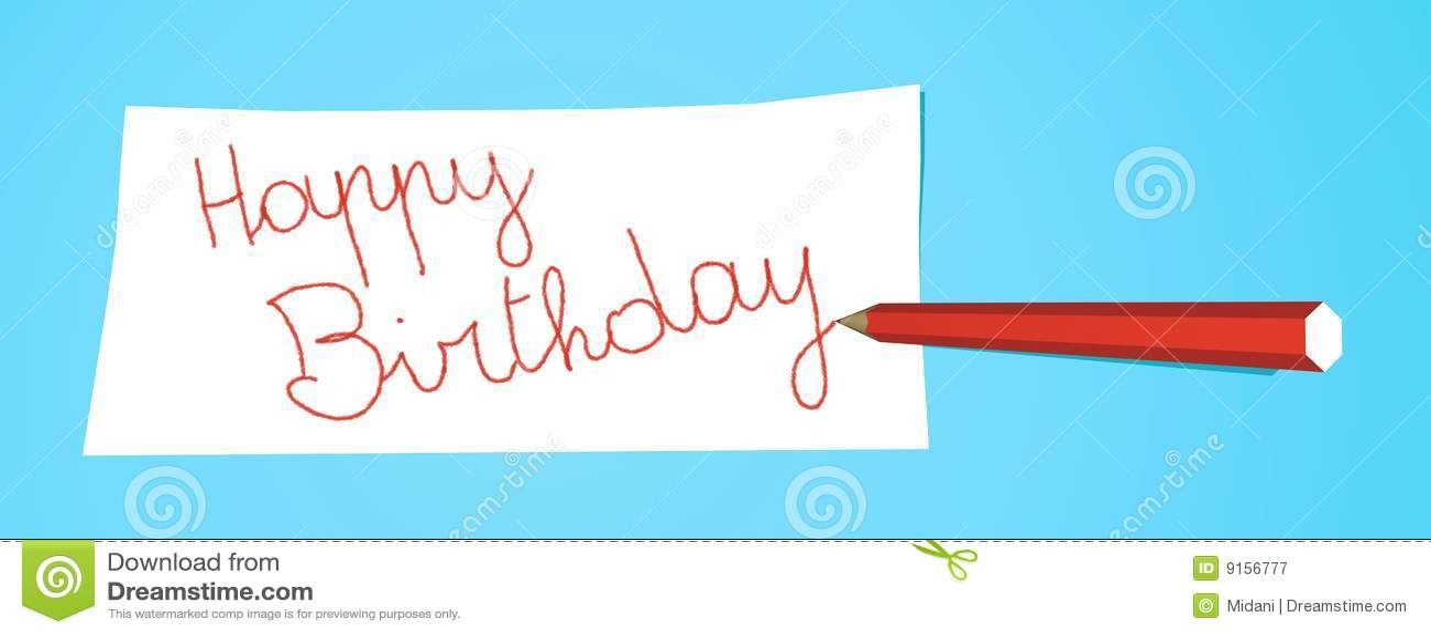 Bleistift Mit Anmerkung Alles Gute Zum Geburtstag Stock Abbildung
