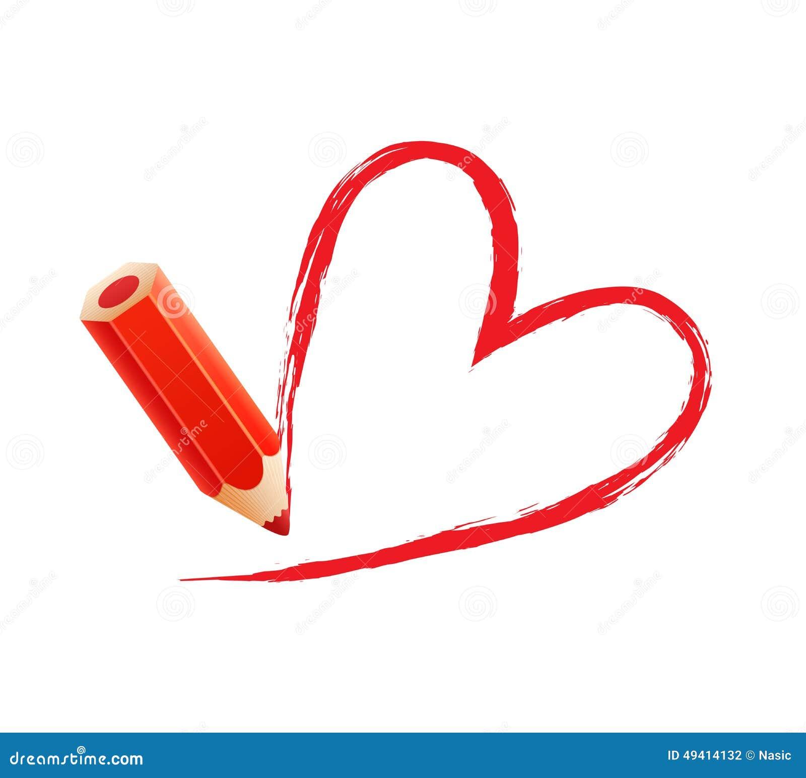 Download Bleistift mit Herzen vektor abbildung. Illustration von farbe - 49414132