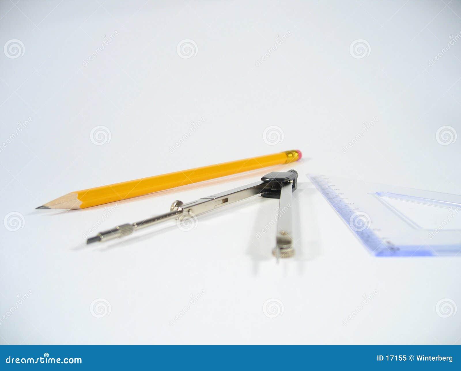 Bleistift, Paare Kompassse und gesetztes Quadrat