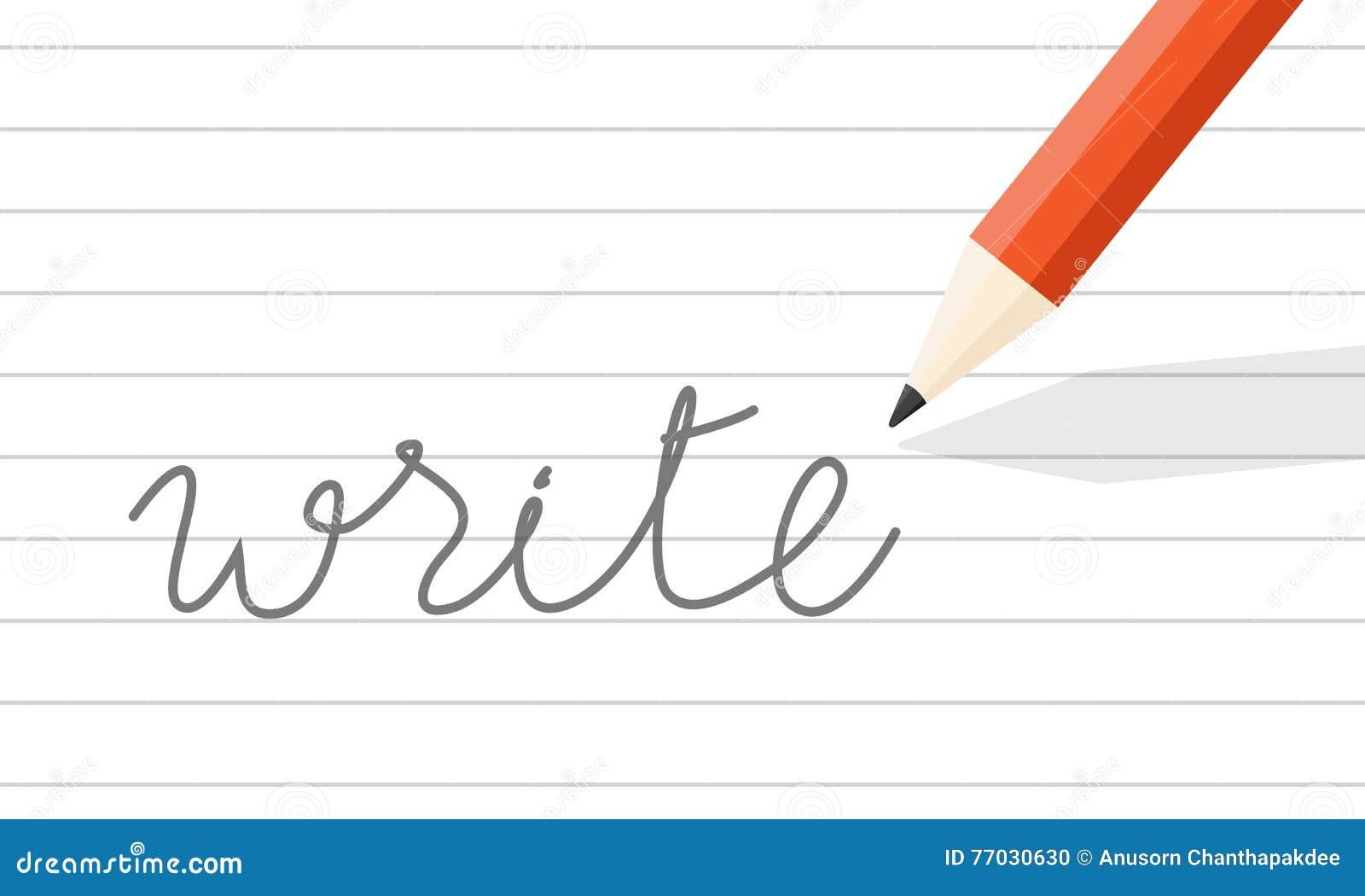 Bleistift Schreiben Auf Linie Papier Vektor Abbildung - Illustration ...