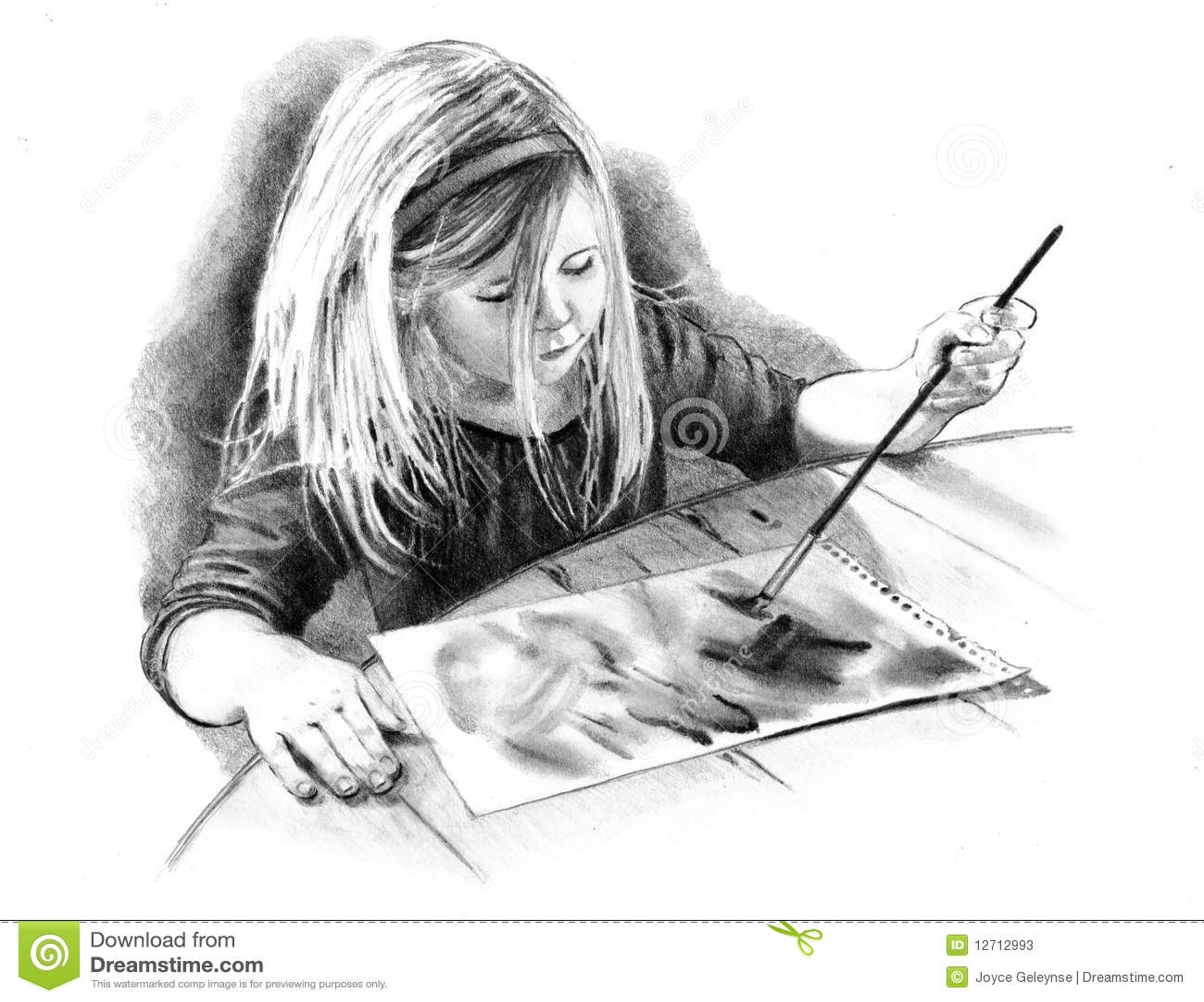 Bleistift-Zeichnung des kleinen Künstler-Mädchens