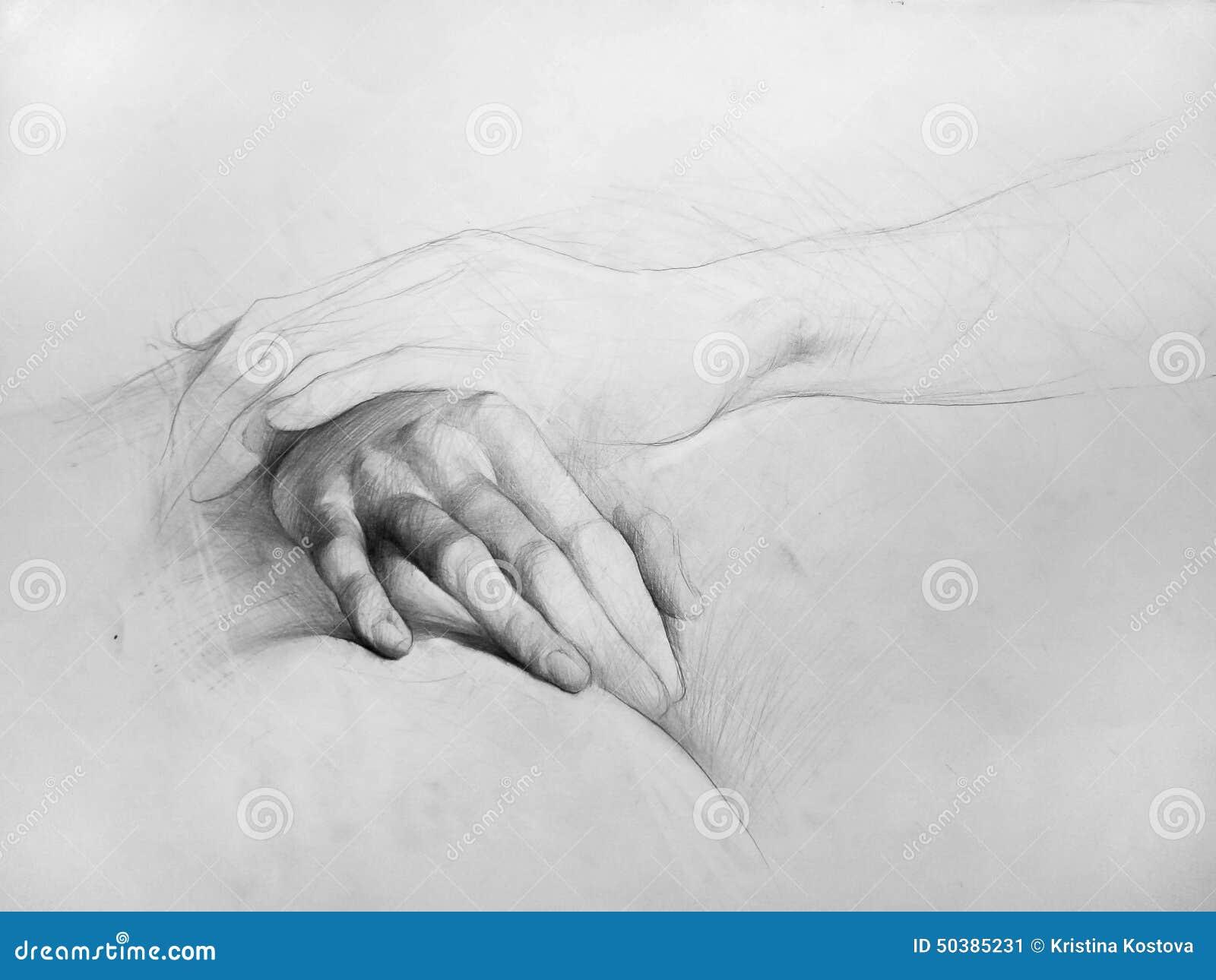 Bleistift zeichnung hände zusammensetzung anatomische zeichnung