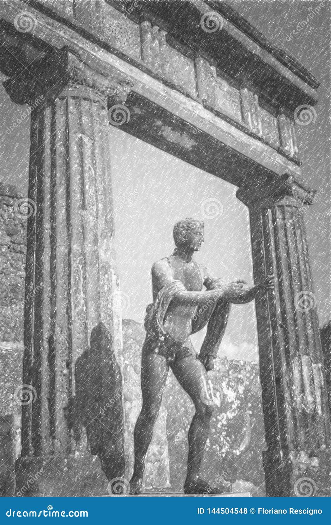 Bleistift-Zeichnung von Pompeji, alte römische Statue von Apollo
