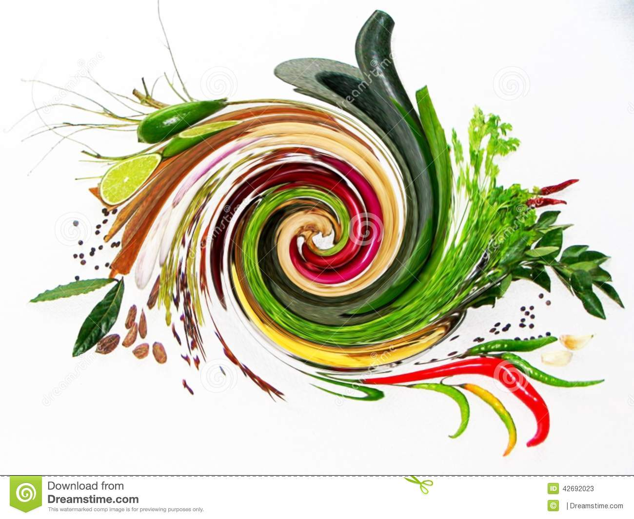 blending of fresh herbs spices stock image image of coriander