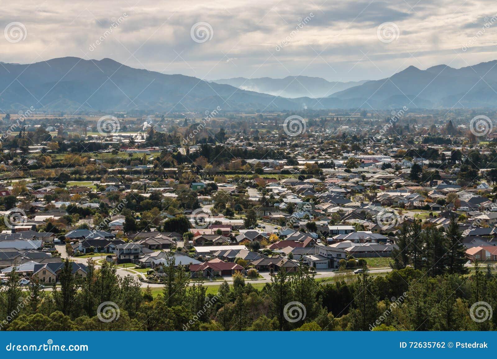 Blenheim镇鸟瞰图在新西兰