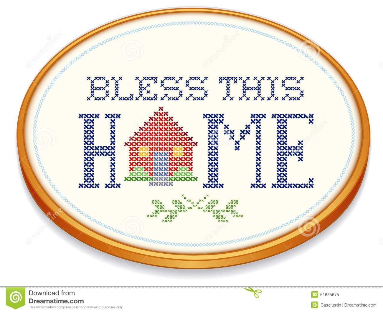 Bless this home embroidery hoop stock vector image