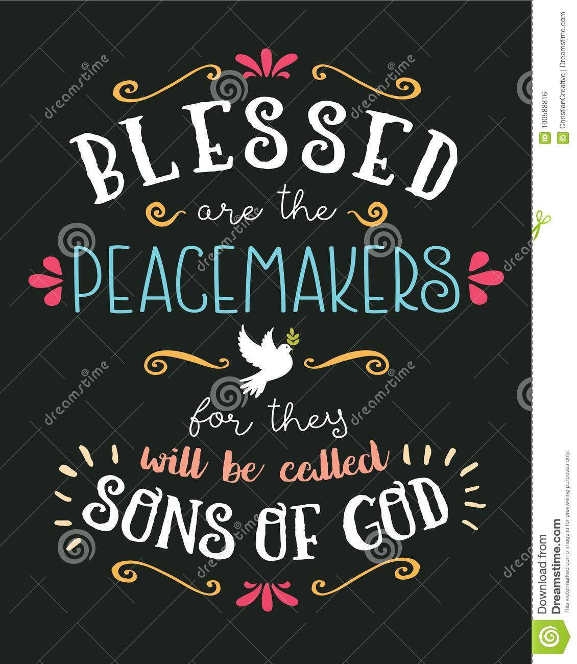 Blessed Are The Peacemakers Hand Lettering Typographic Vector Art Poster Beatitudes Design From Gospel Of Matthew With Dove Olive Branch
