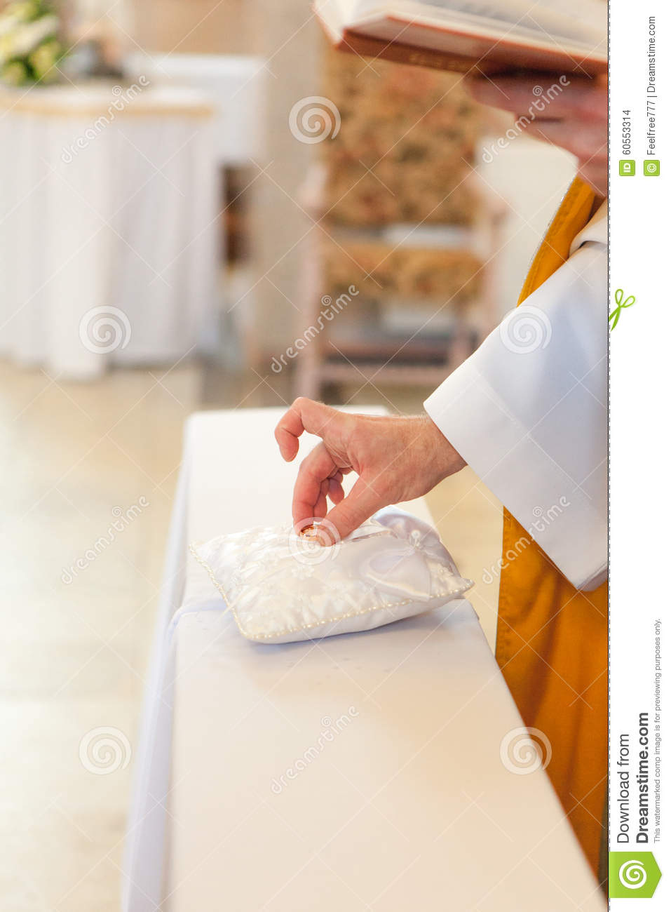 Blessing Of The Wedding Rings Stock Photo Image Of Pastor Groom