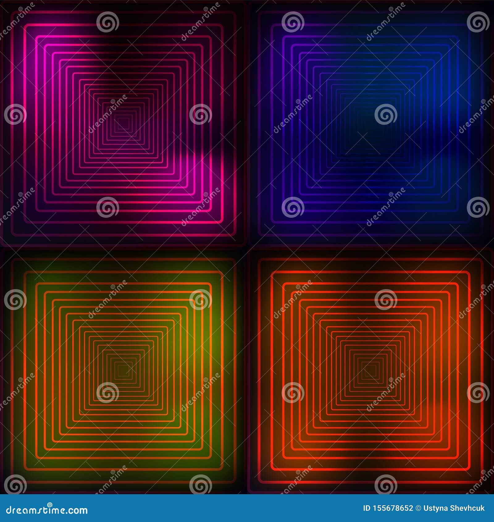 Bleu au néon, orange, rose, fond géométrique de yelllow Illustration abstraite Lignes rougeoyantes technologie Vecteur