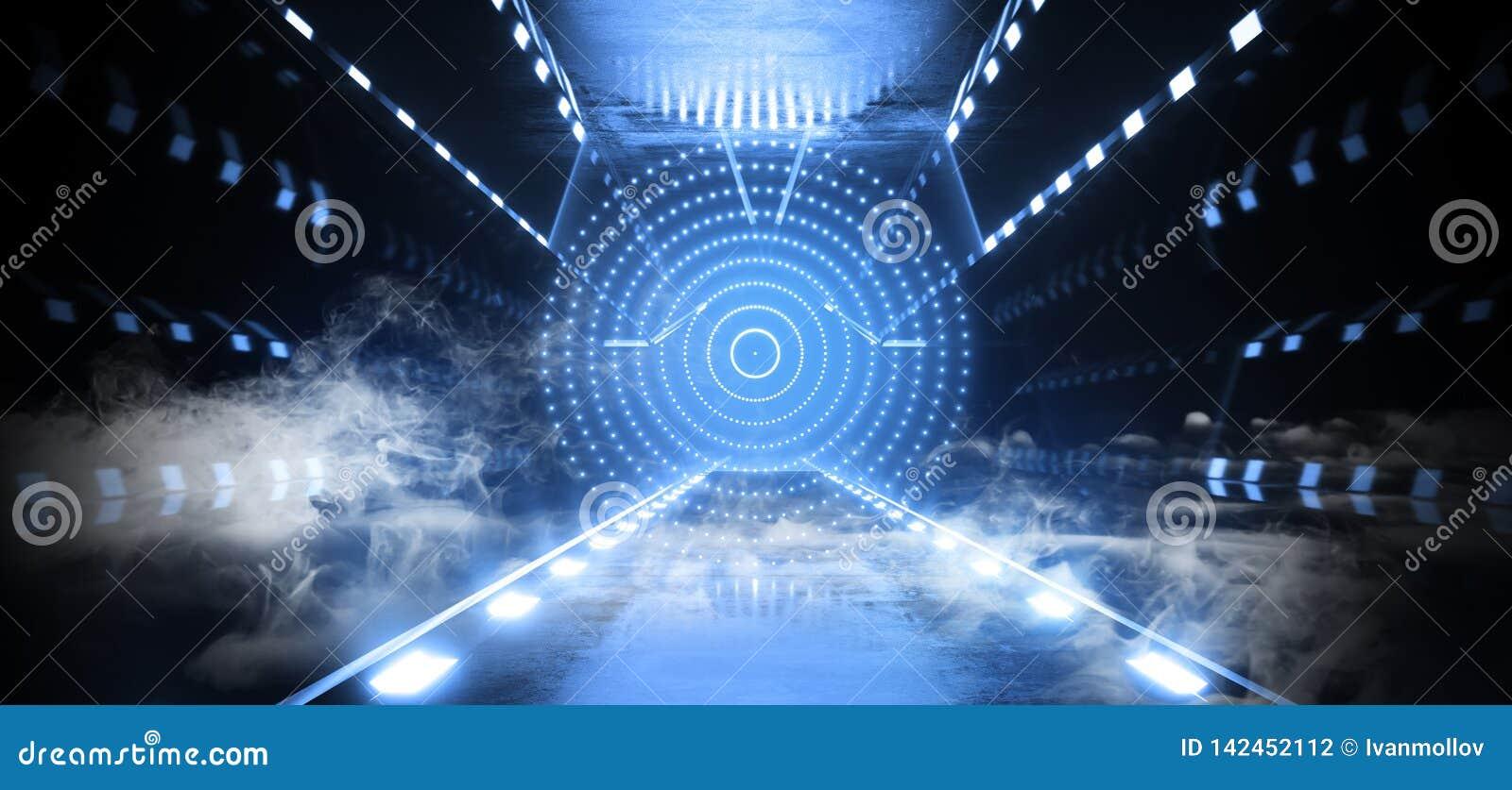 Bleu au néon rougeoyant de lumières lasers de Matrix de cercle futuriste de vaisseau spatial de Sci fi d étranger de brouillard d
