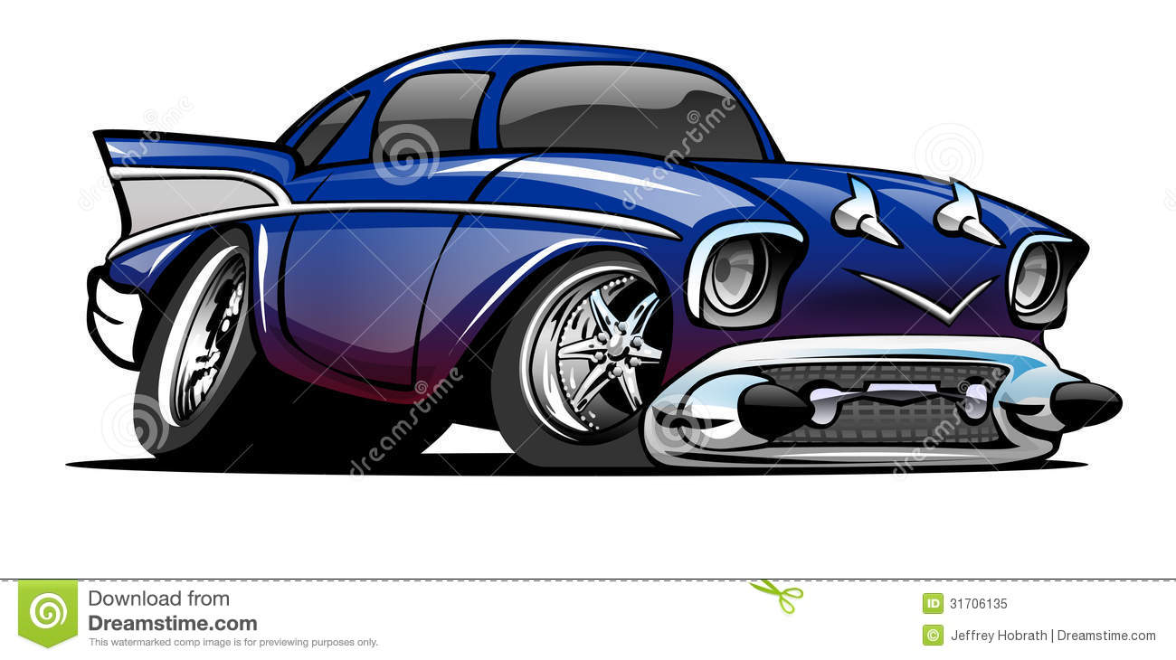 Bleu 57 Chevy Cartoon Illustration
