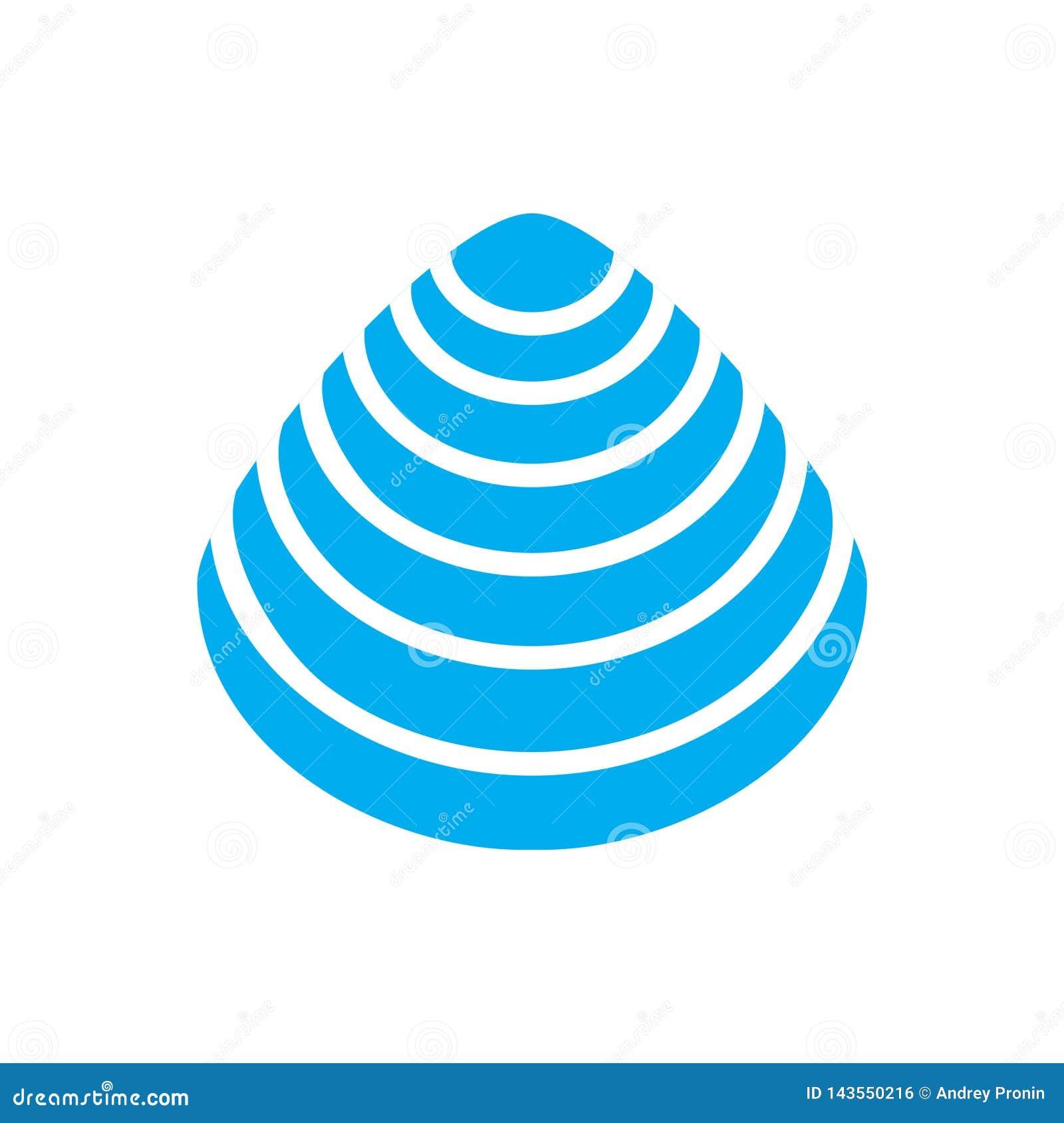 Bleu d ic?ne de Shell de mer sur le fond blanc pour le graphique et la conception web Signe simple de vecteur Symbole de concept