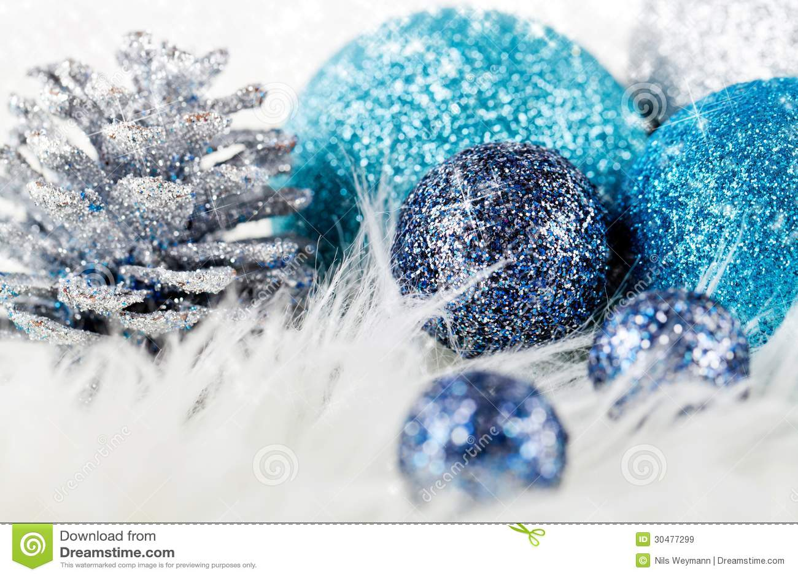 Bleu de f te d 39 argent de d coration de no l de scintillement images libre - Decoration de noel bleu ...