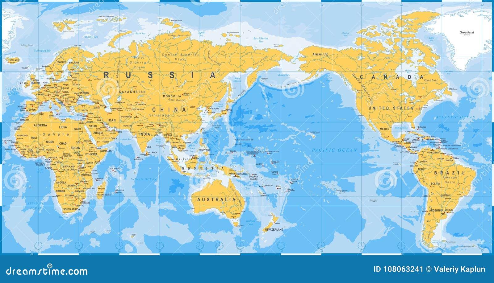 Carte Du Monde Jaune.Bleu De Jaune De Carte Du Monde Asie Au Centre