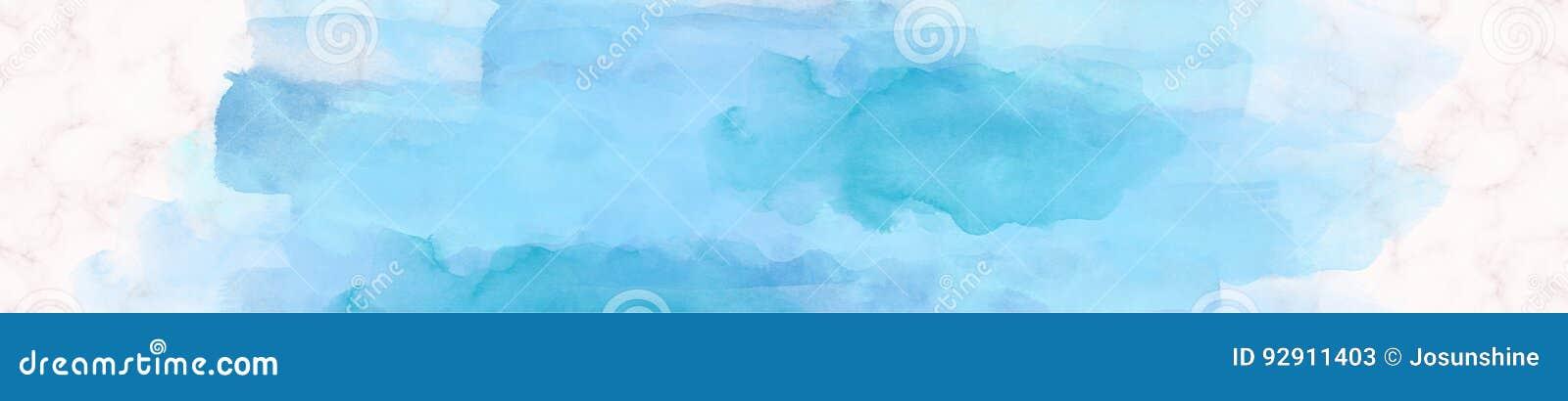 Bleu de marbre de peinture d aquarelle de bannière de Web