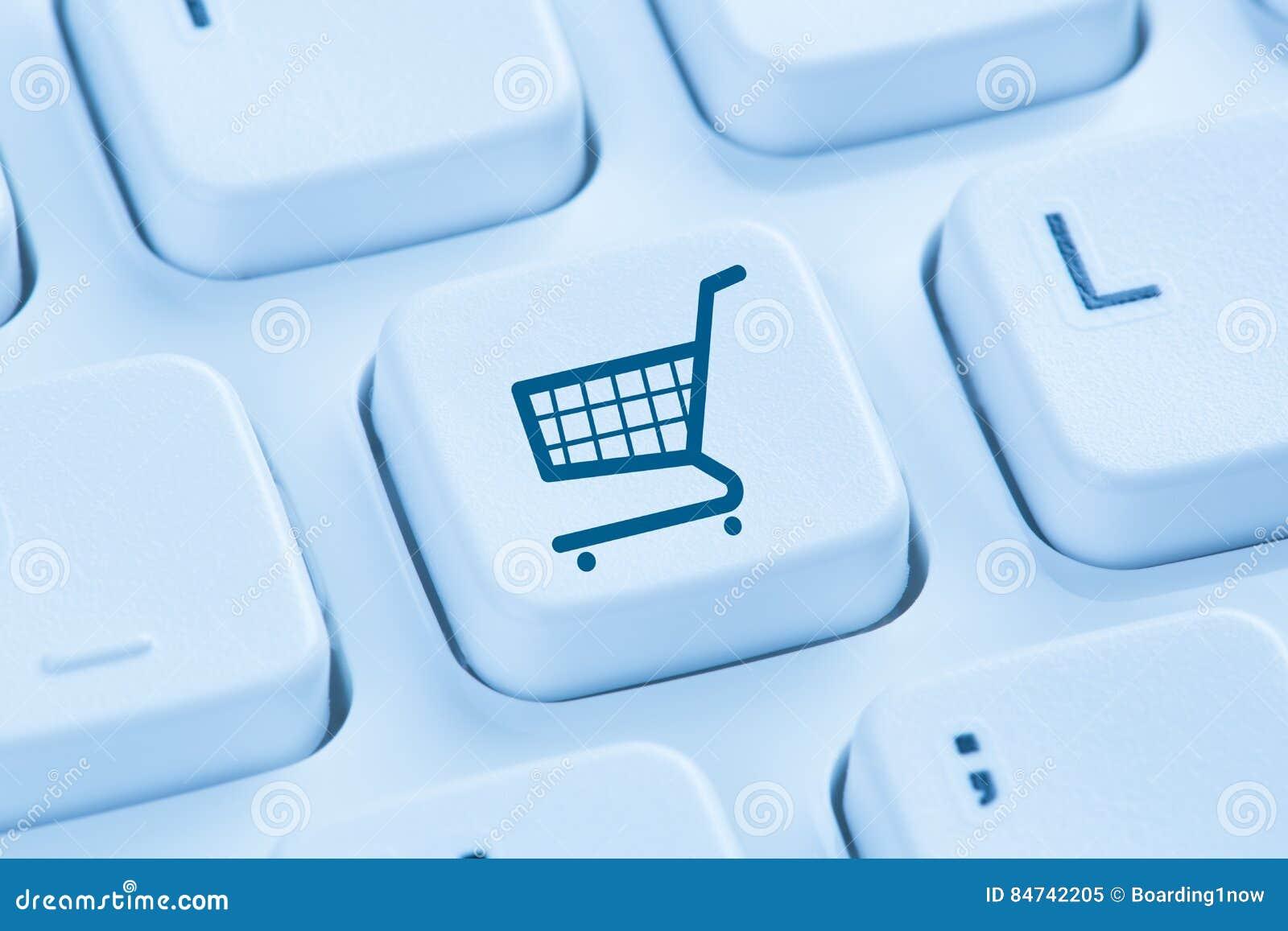 Bleu en ligne de concept de boutique d Internet de commerce électronique de commerce électronique d achats