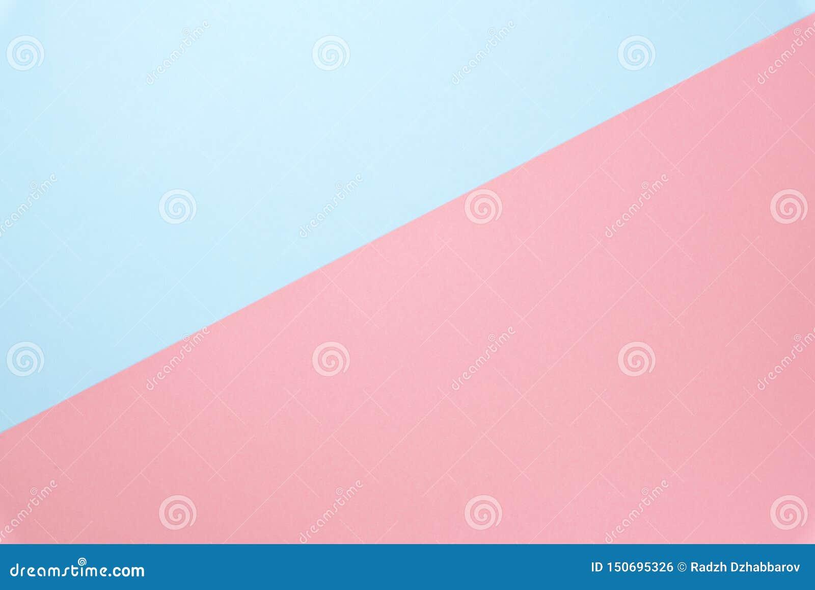 Bleu et couleur de papier en pastel de rose pour le fond Texture minimale de concept Configuration plate