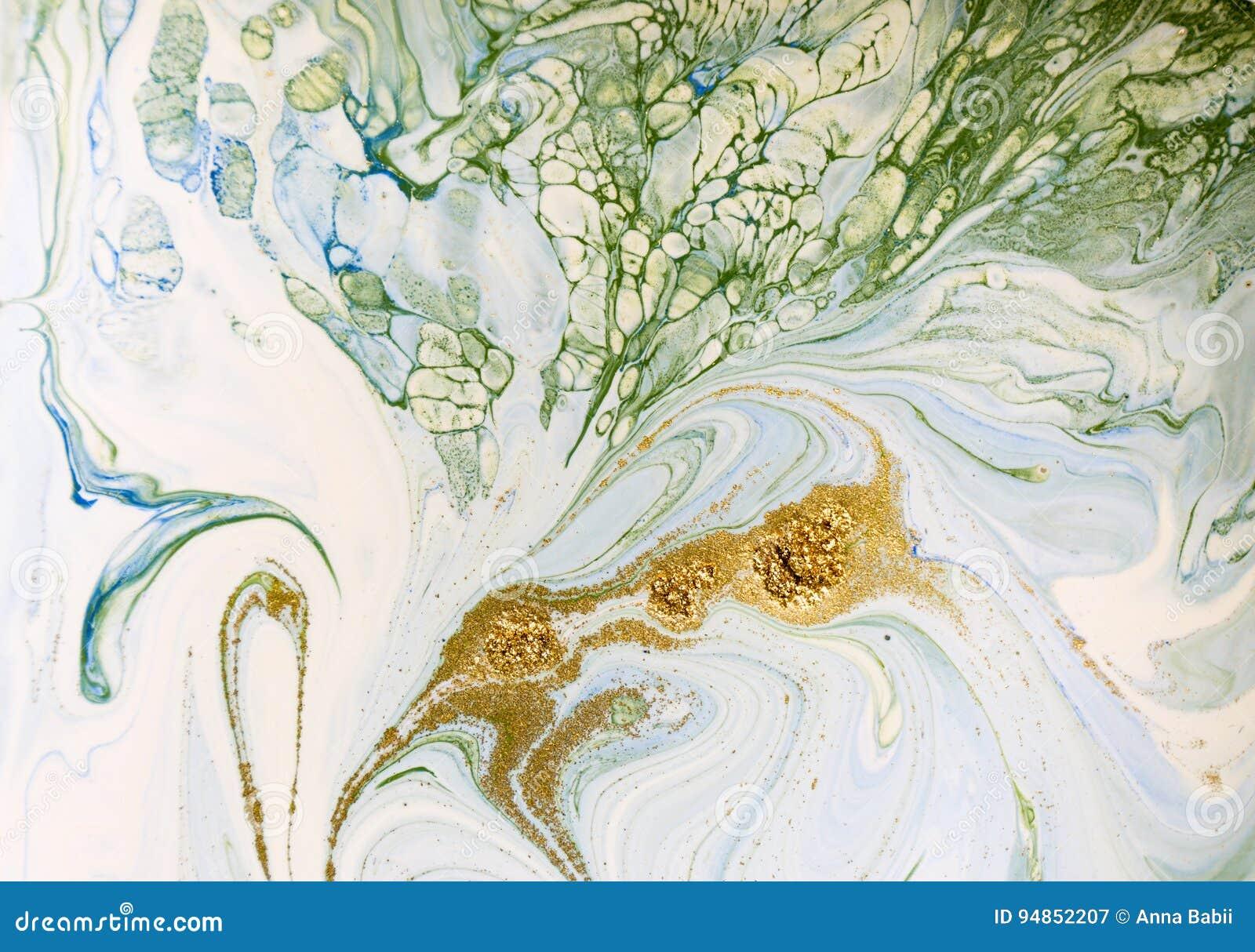 Bleu marbré, vert et fond abstrait d or Modèle de marbre liquide