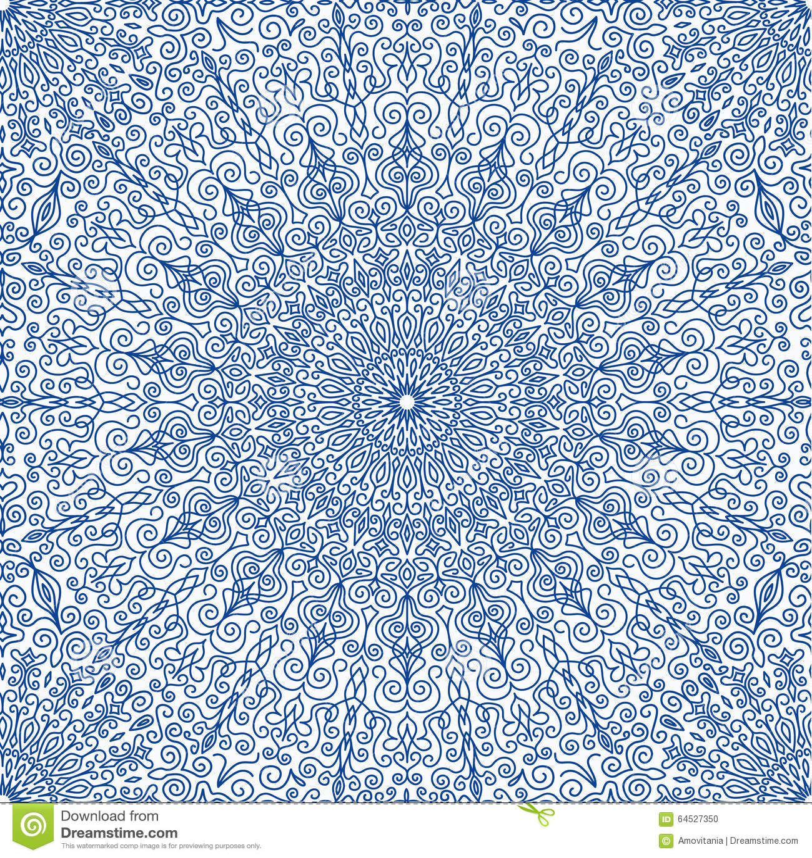 Bleu marine Mandala Seamless Pattern florale