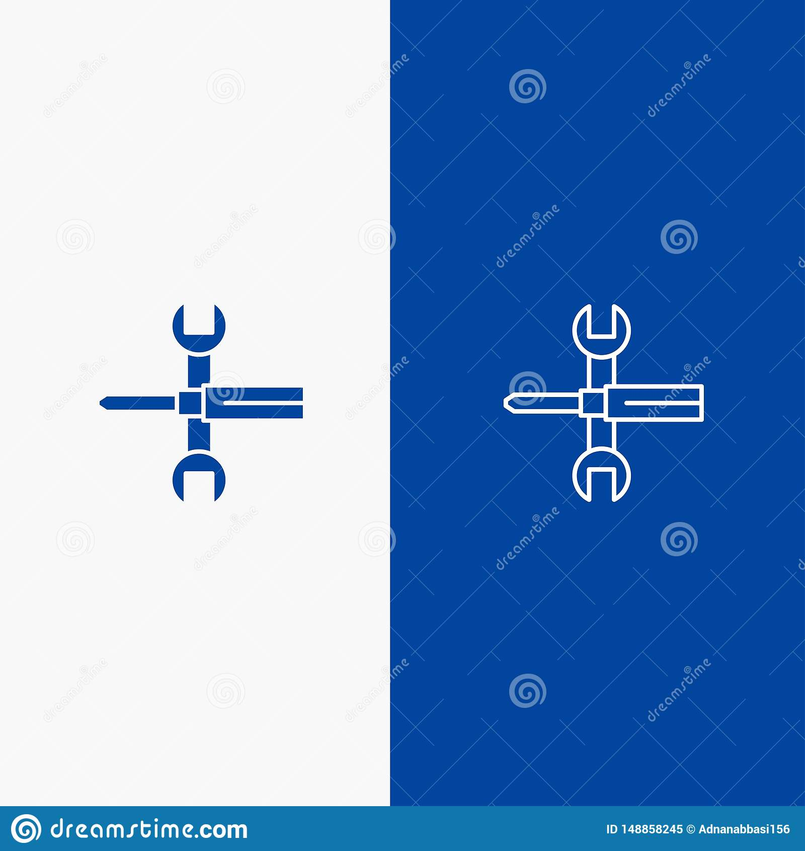 Bleu solide de bannière d icône solide d arrangements, de contrôles, de tournevis, de clé, d outils, de ligne de clé et de Glyph