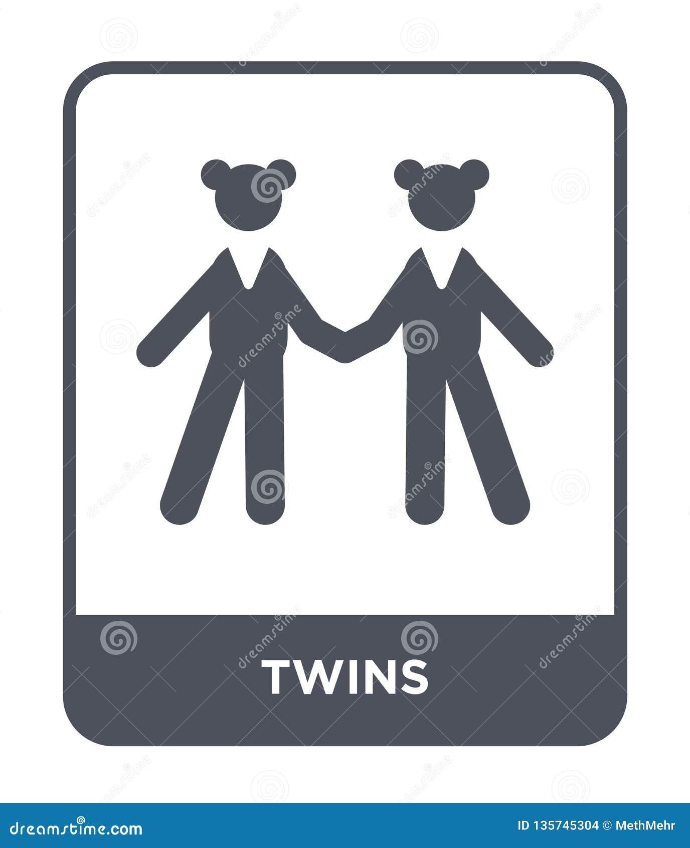 Bliźniak ikona w modnym projekta stylu bliźniak ikona odizolowywająca na białym tle bliźniak wektorowej ikony prosty i nowożytny