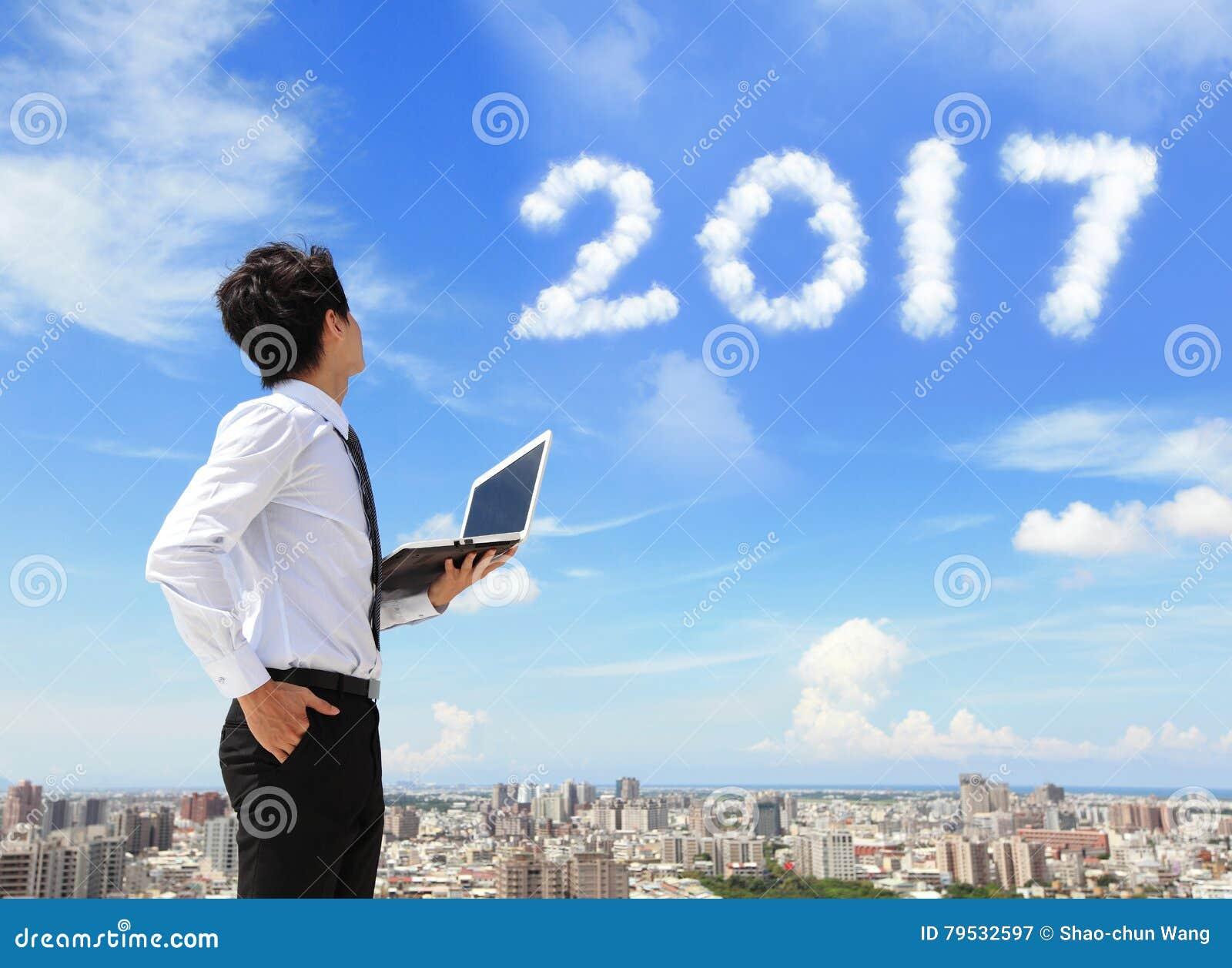 Blick för affärsman till 2017