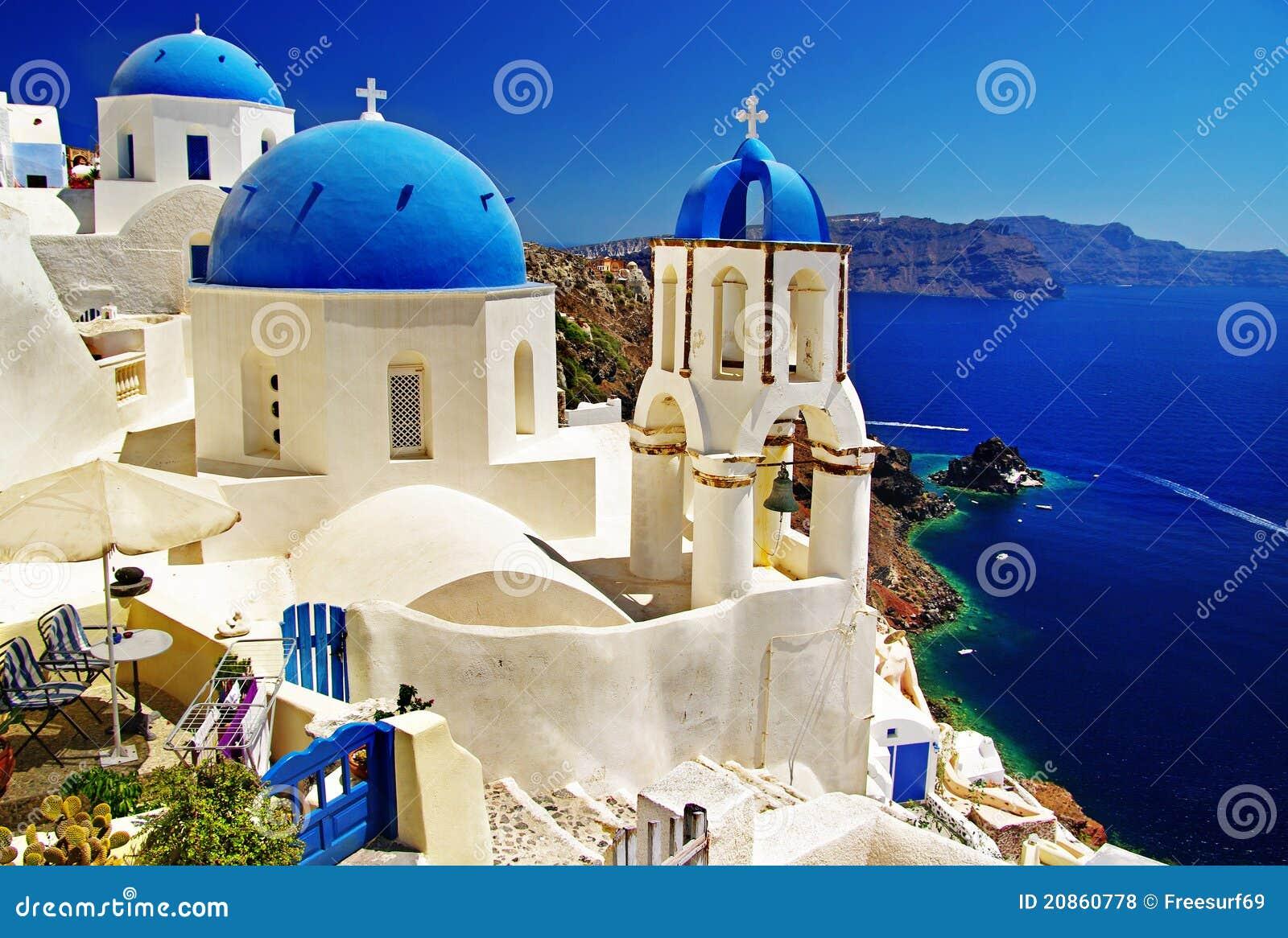 Blies kerken van Santorini