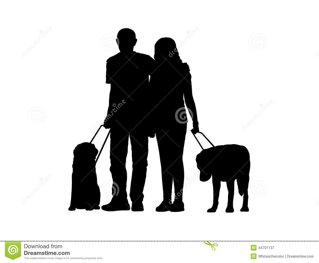 blind couple with dogs silhouette stock illustration