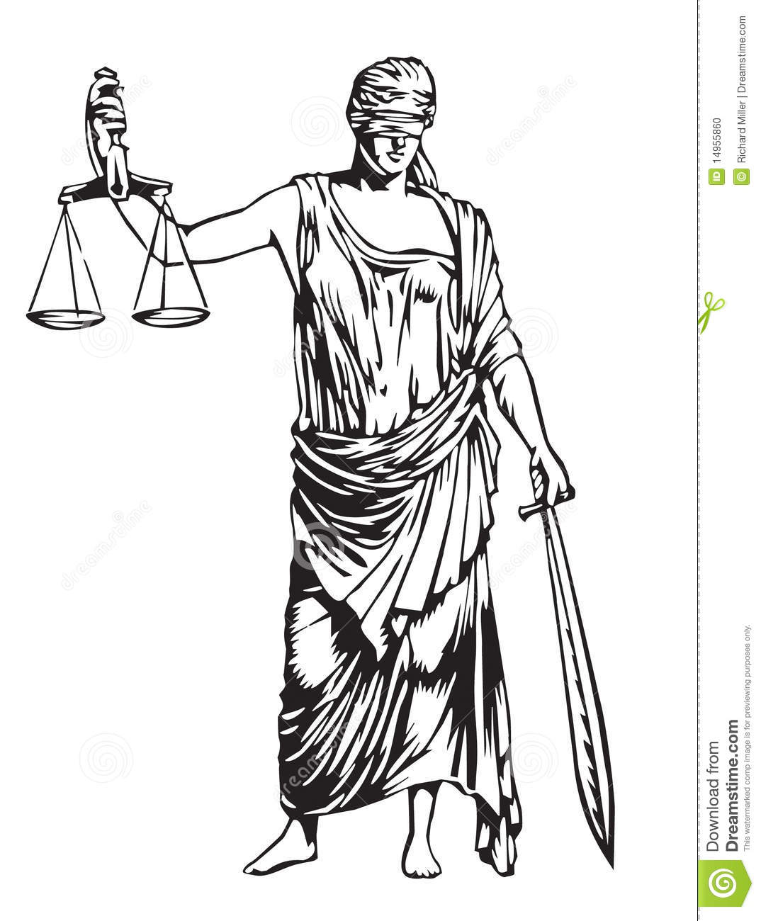 Blind justice stock vector. Illustration of scales, toga ...