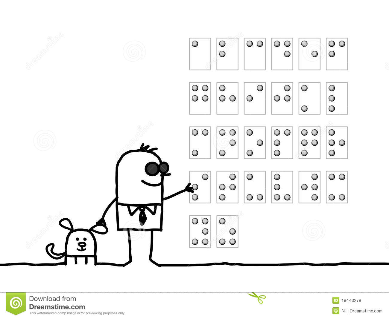 blind man braille alphabet