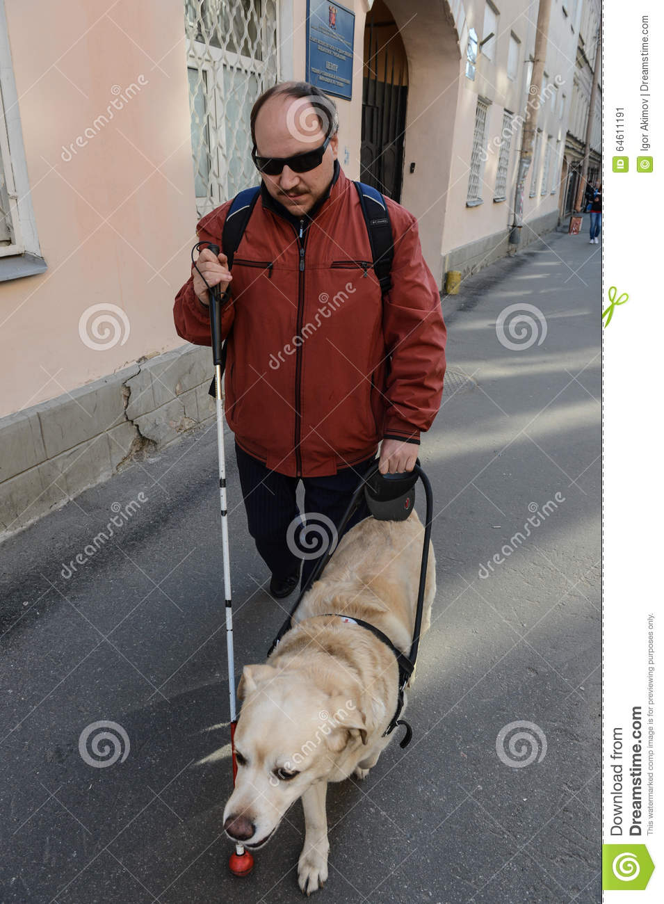 Blind Man And Guide Dog Editorial Photo Image Of