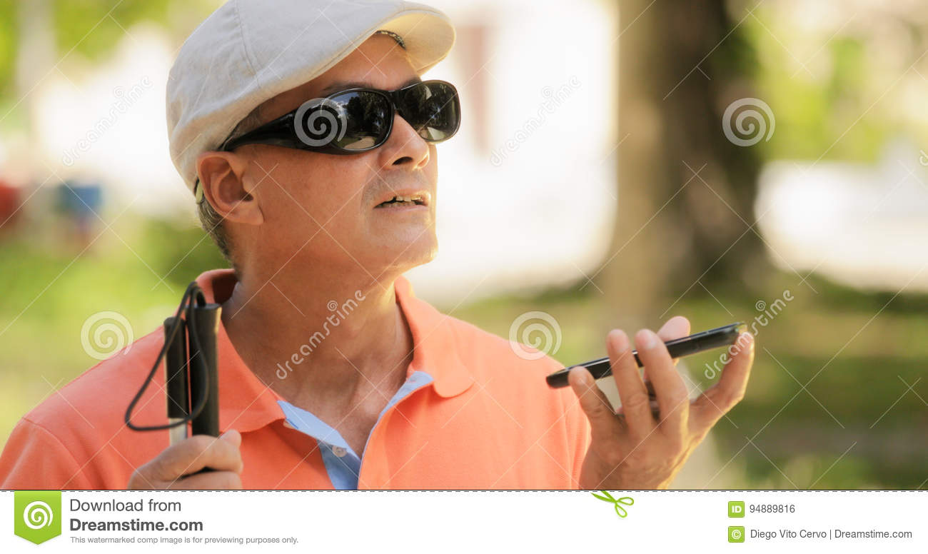 Blind Man Talking With Mobile Phone Disabled Man Speaking