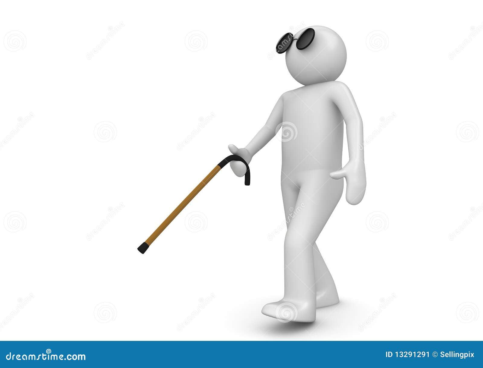 Blind Man With Walking Stick Stock Image - Image: 13291291