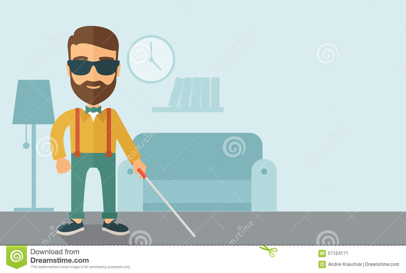 Blind Man With Walking Stick Stock Vector Image 57124171