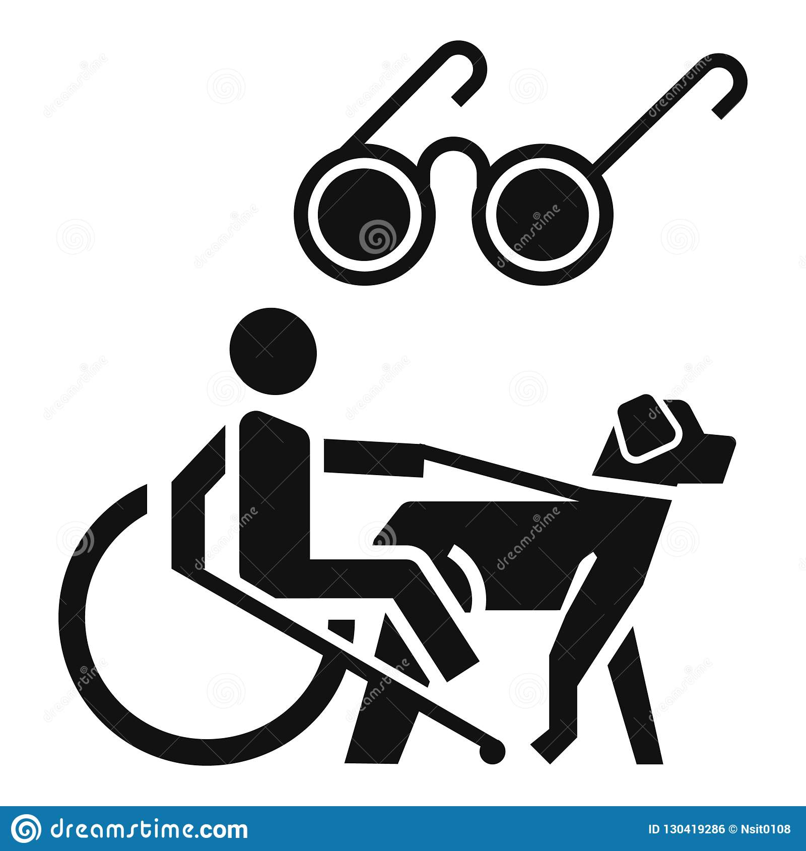 Blind Man Wheelchair Dog Icon, Simple Style Stock Vector