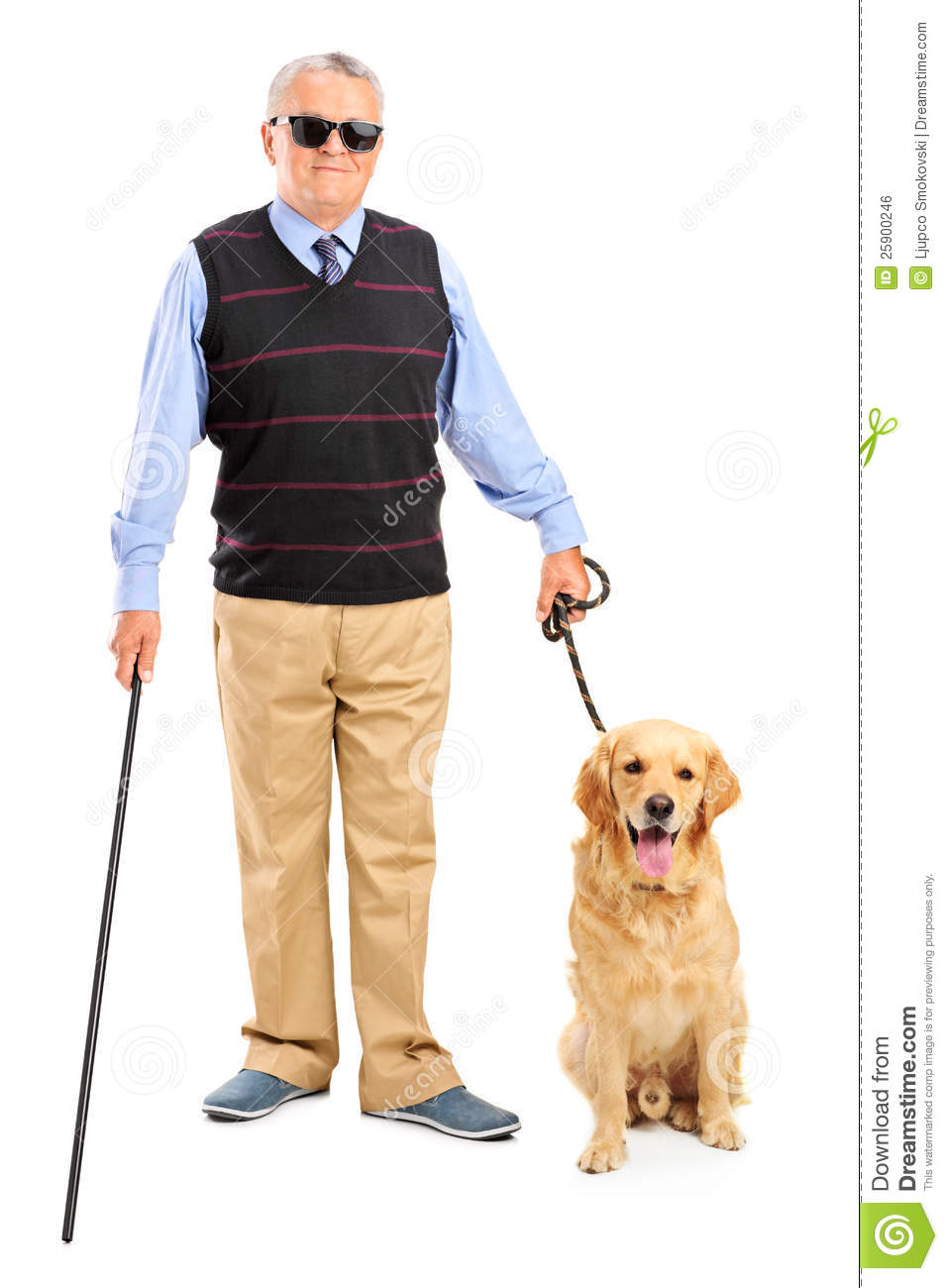 ... blind person holding a walking stick and a dog on white background