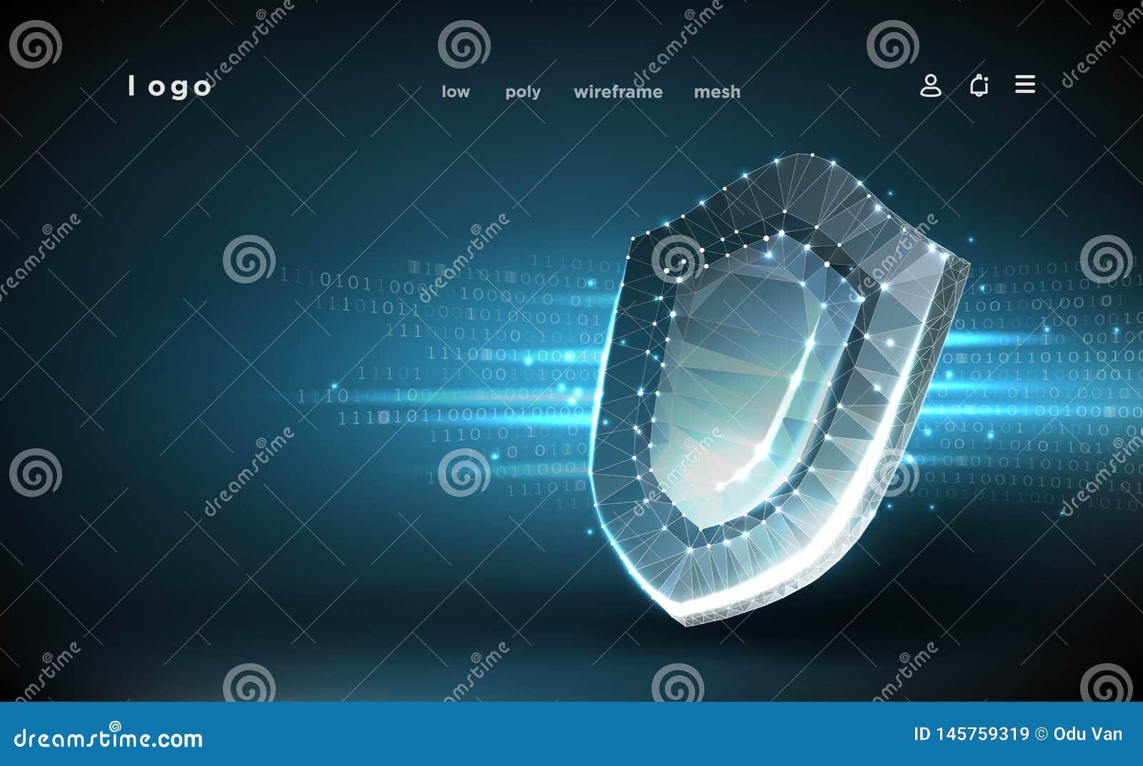 Blindaje Malla poligonal del wireframe Concepto cibern?tico de la seguridad, protecci?n Escudo en fondo de los datos digitales