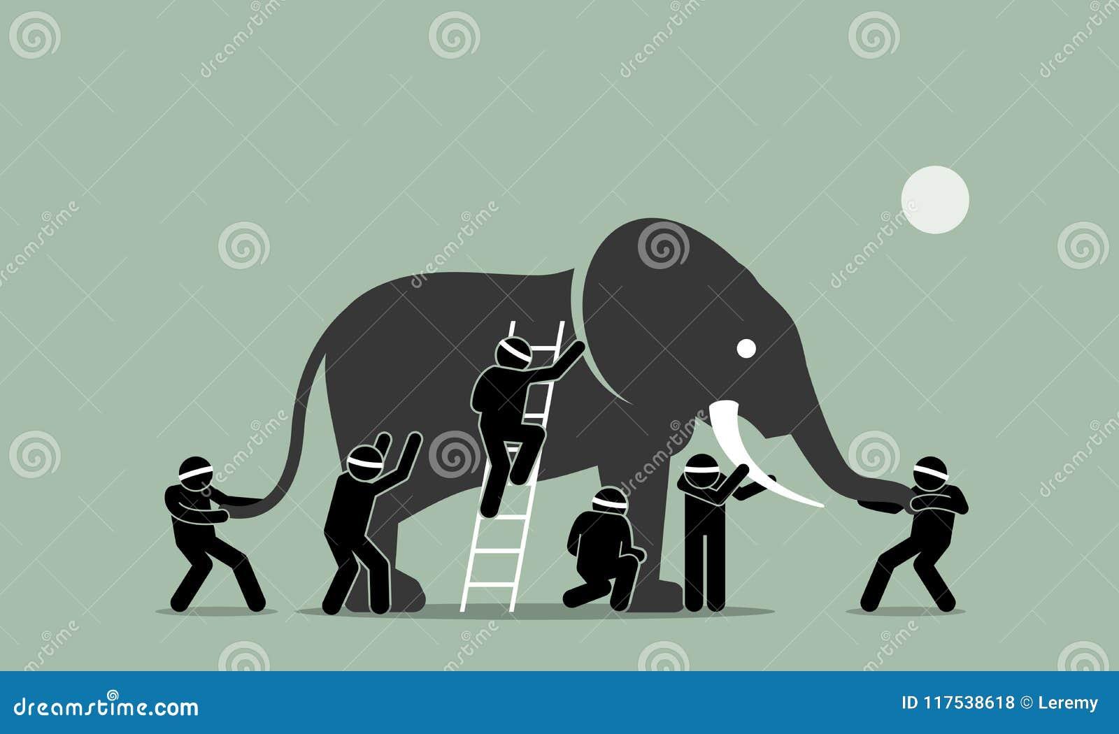 Blinden wat betreft een olifant