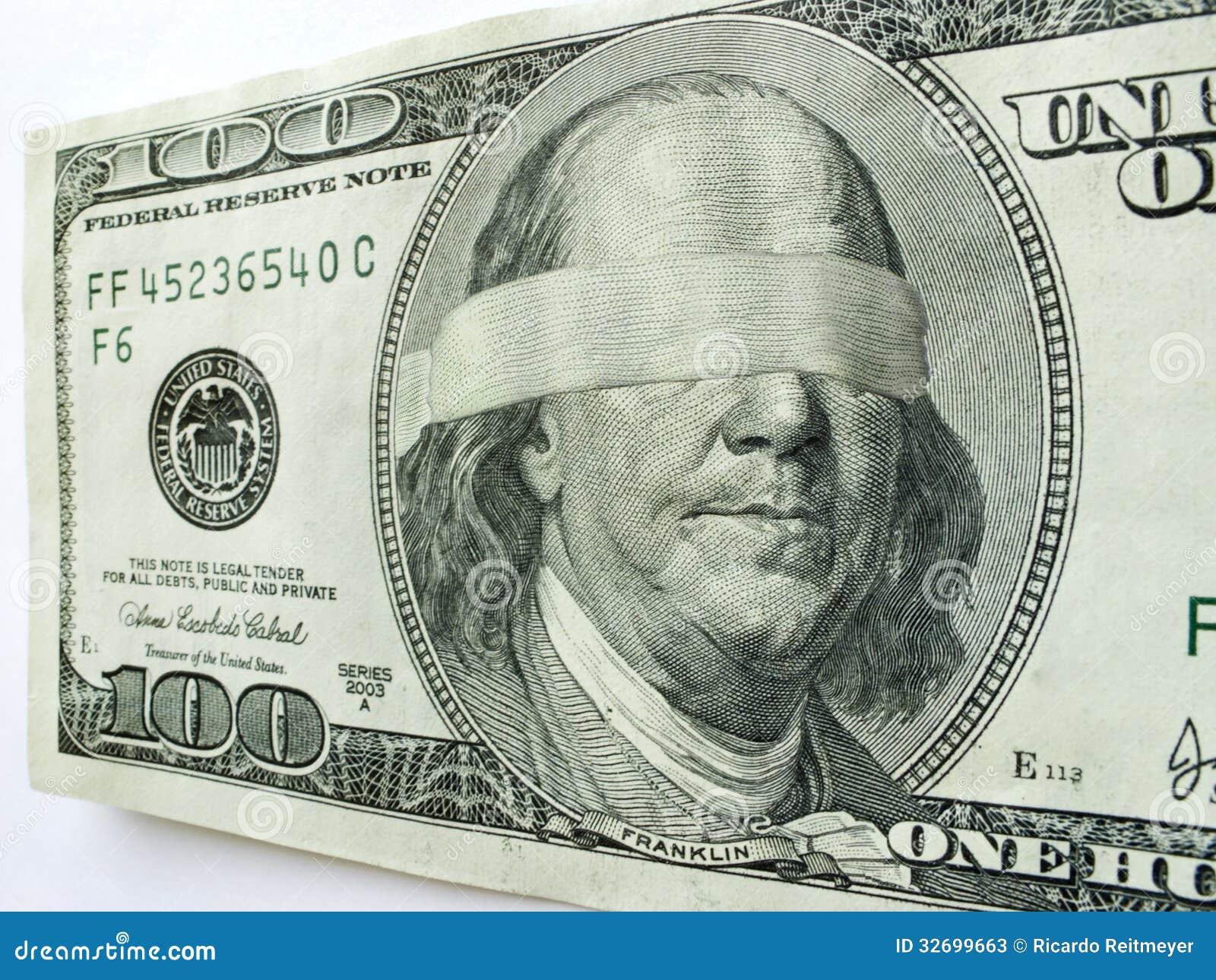 blindfolded ben franklin one hundred dollar bill i stock