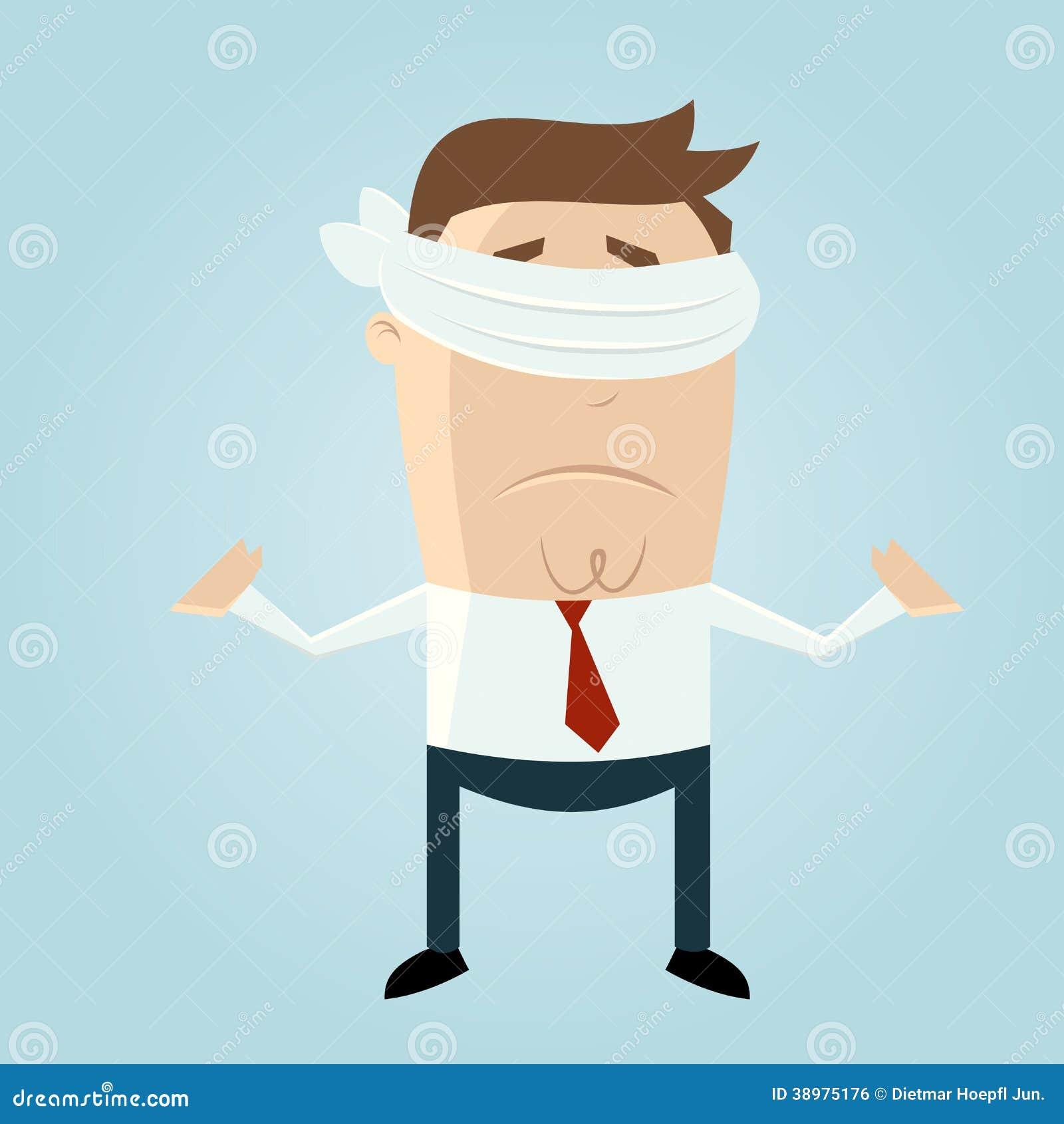 Blindfolded Cartoon Man Stock Vector Image 38975176