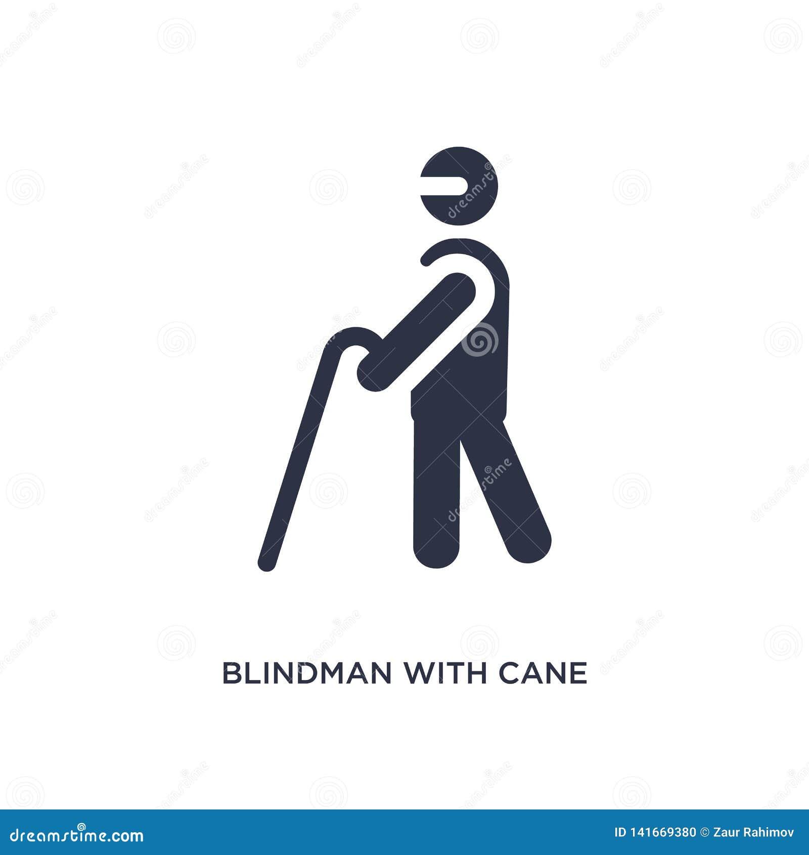 Blindman z trzciny ikoną na białym tle Prosta element ilustracja od zachowania pojęcia