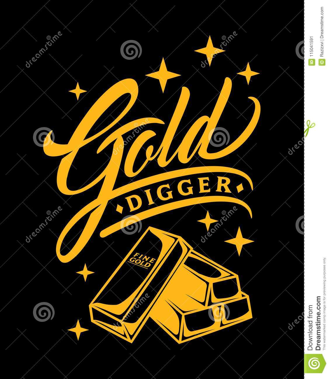 Bling Luxurious Glam Typo Gold Digger Vector Illustration