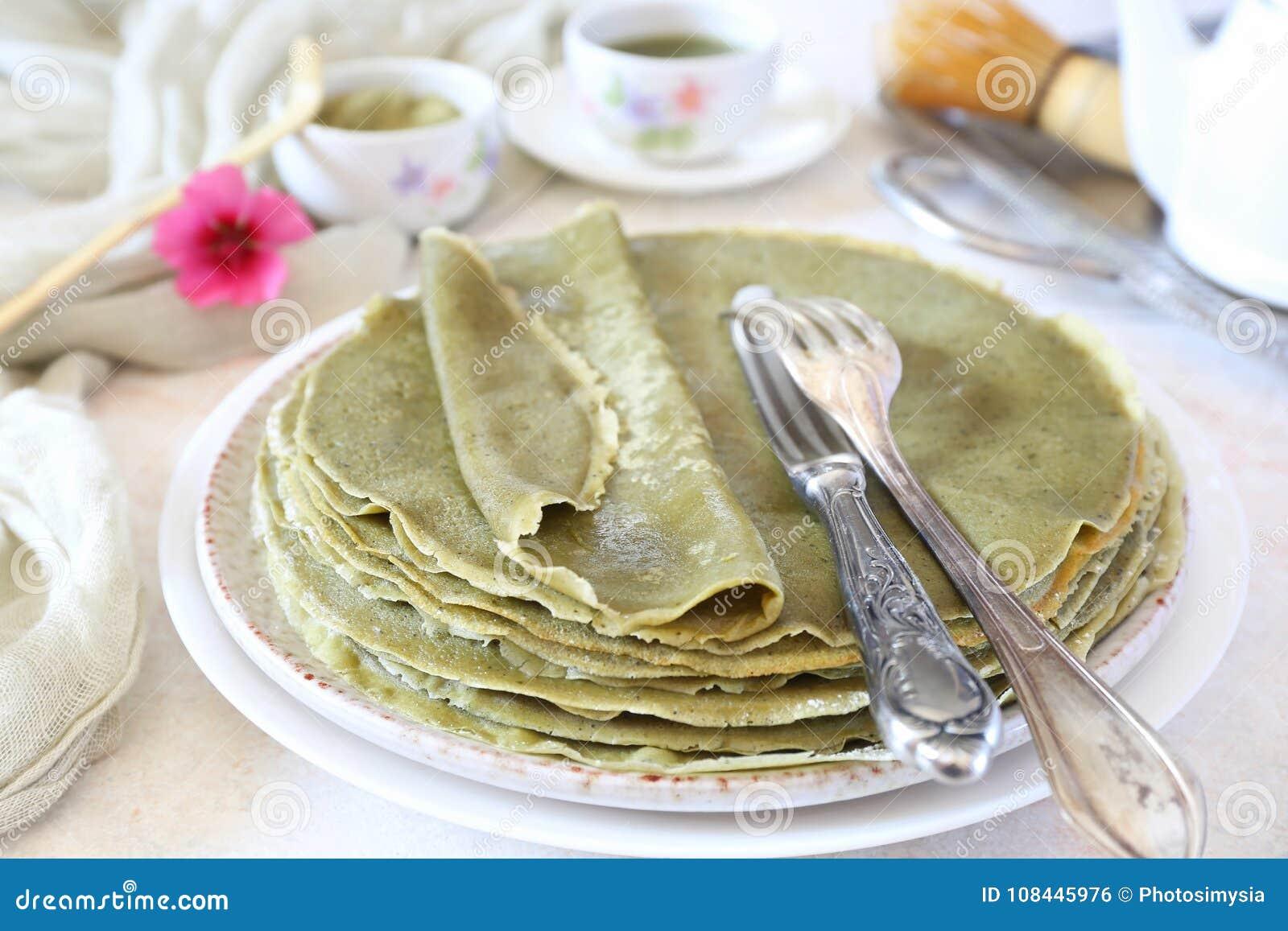 Blinis för pannkakor Matcha för grönt te