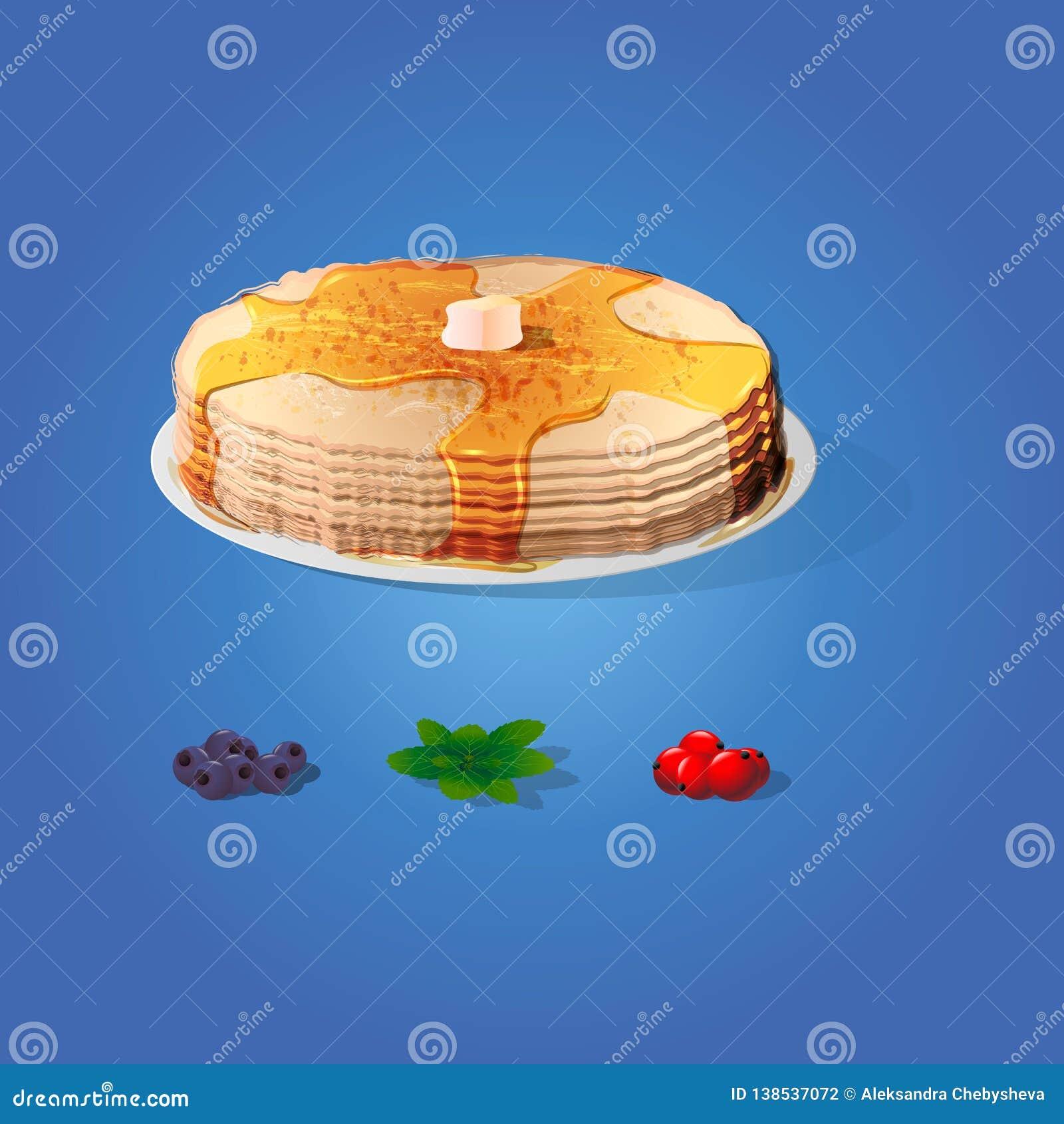 Bliny z plasterkiem masło, czarne jagody, nowi liście i rodzynki ustawiający, Rosyjskiego świętowania Naleśnikowy tydzień - Masle