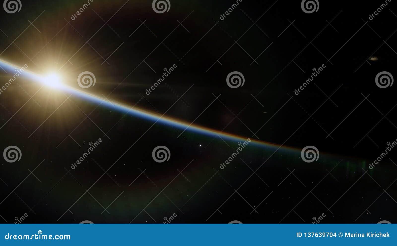 Blisko, niska ziemskiej orbity błękitna planeta Ten wizerunku elementy meblujący NASA