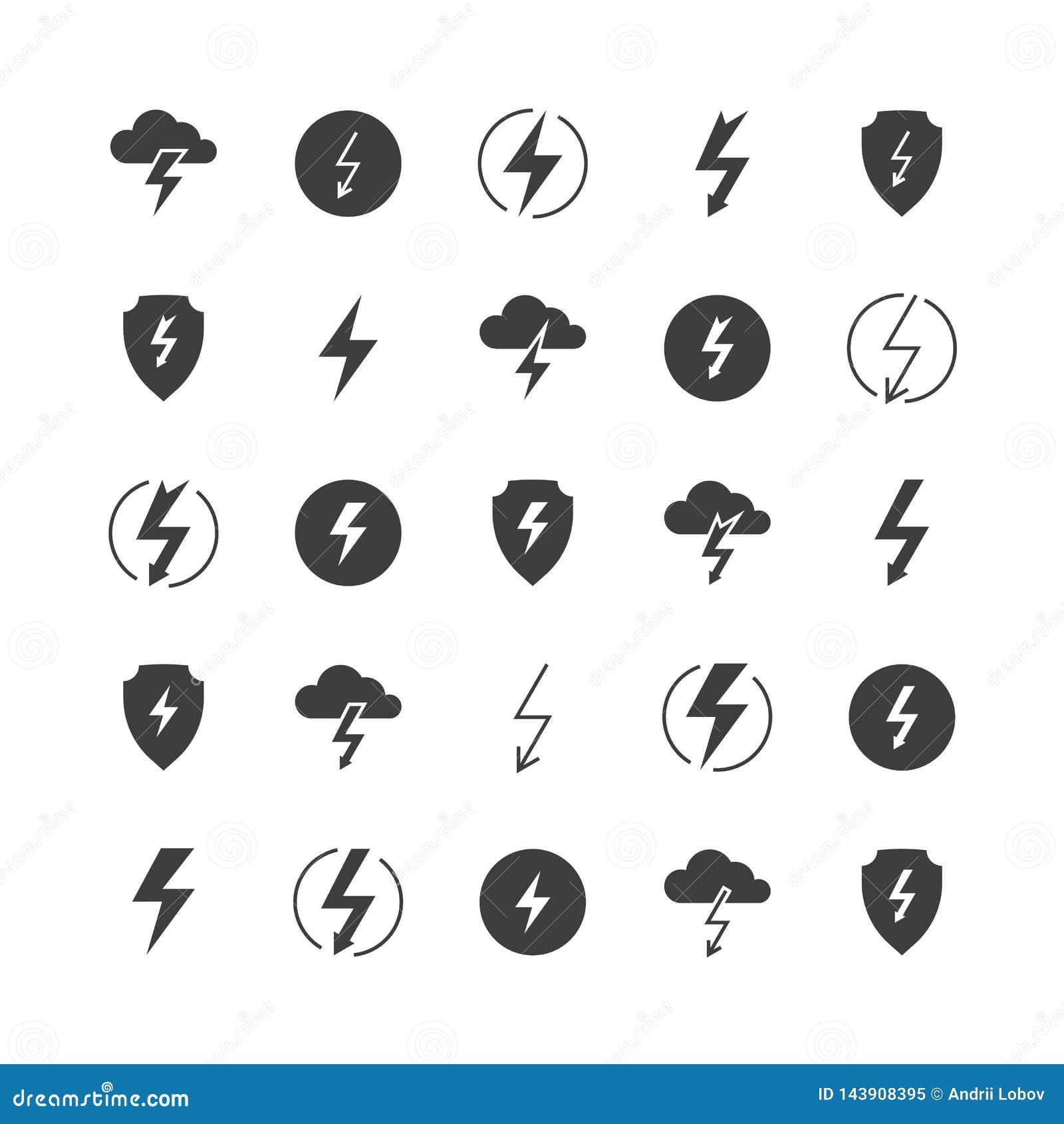 Blitzschattenbildikonen laden Donnervektorillustrations-Blitzbolzen-Donnerbeleuchtungskörperverletzungs-Streiklinie Ikone auf