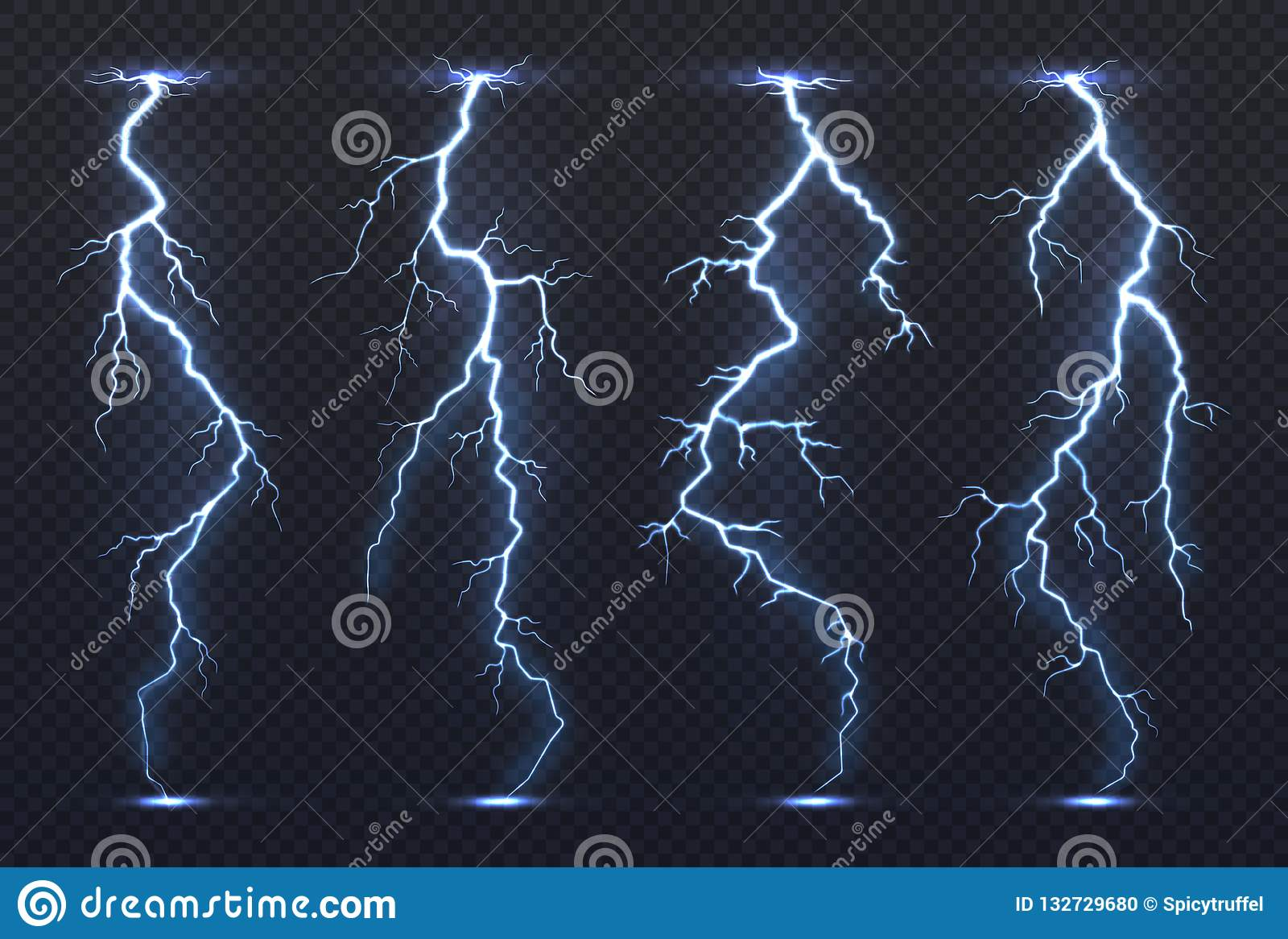 Blixt Klimat för häftigt regn för åskväder för himmel för blått för åskastormelektricitet pråligt stormigt realistiskt Blixtvekto