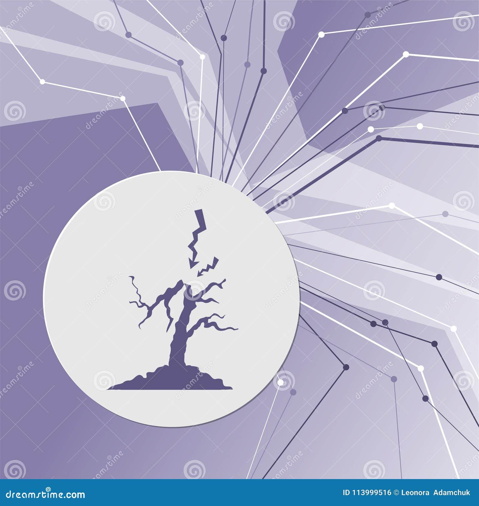Blixt- och trädsymbol på modern bakgrund för lilaabstrakt begrepp Linjerna sammanlagt riktningar Med rum för din advertizing