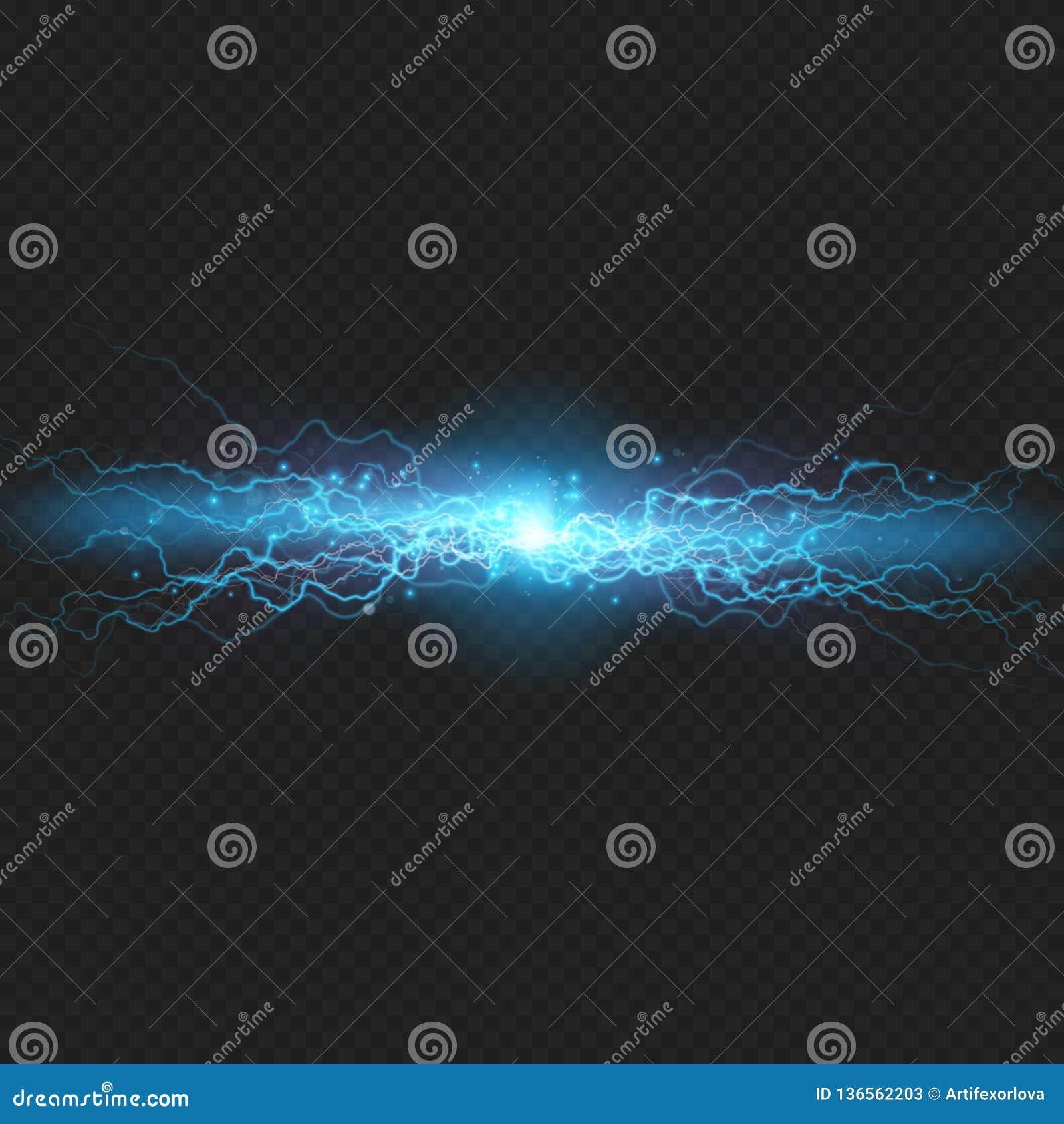 Blixtexponeringsurladdning av elektricitet på genomskinlig bakgrund Blå elektrisk visuell effekt 10 eps